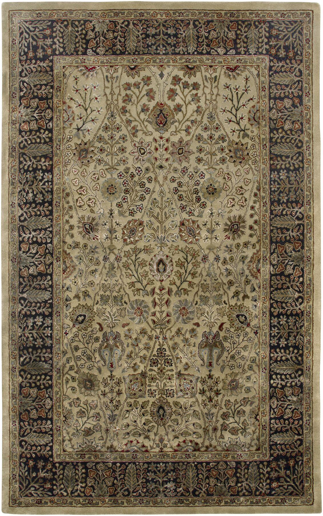 Cloverdales Gold/Ebony Area Rug Rug Size: Rectangle 5'6