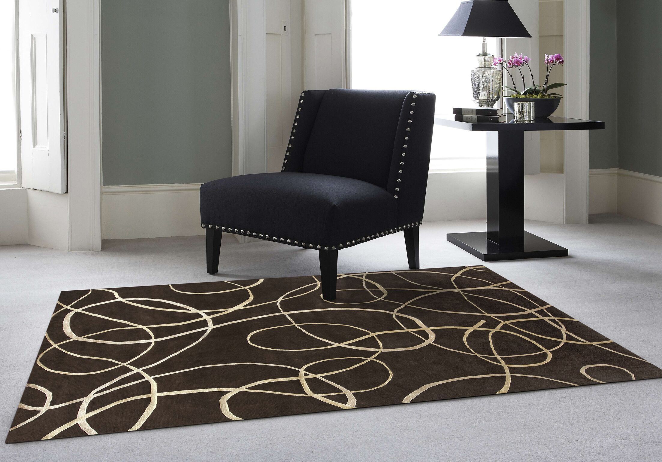 Emborough Hand-Knotted Brown Area Rug Rug Size: Rectangle 6' x 9'