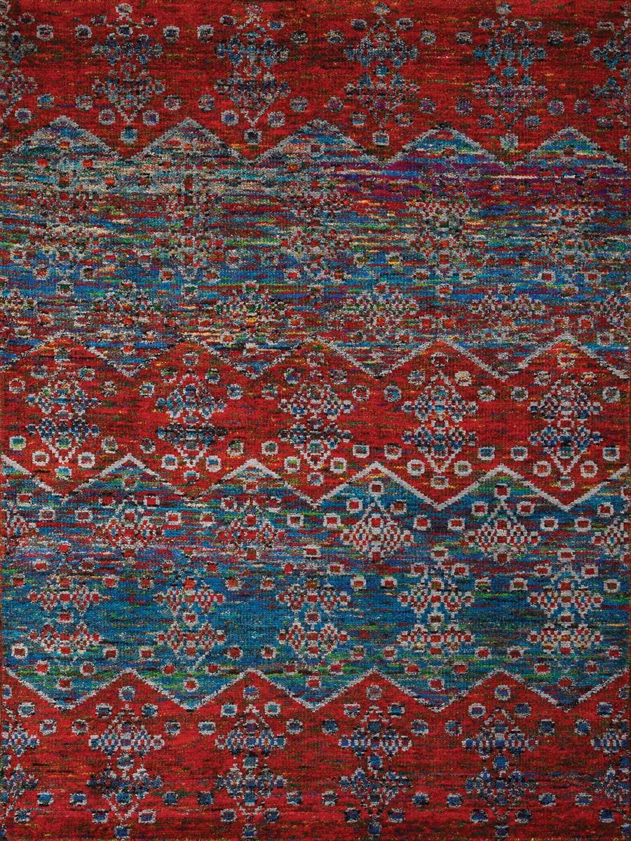 Pouncy Blue/Red Area Rug Rug Size: 3' x 5'