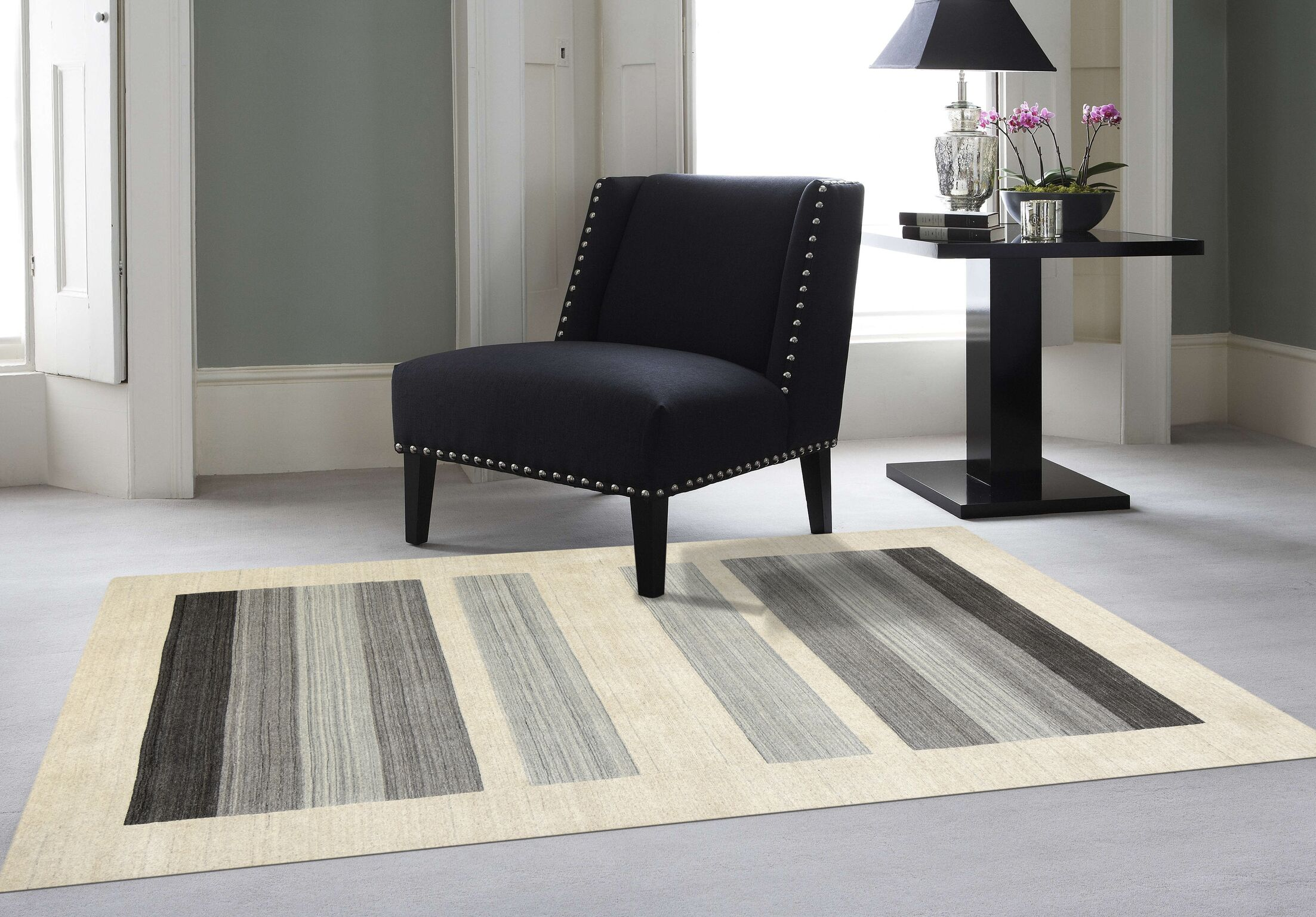 Burk Blend Ivory/Gray Area Rug Rug Size: 10' x 14'