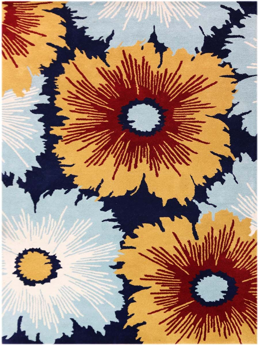 Omicron Hand-Tufted Navy Area Rug Rug Size: Rectangle 5' x 8'