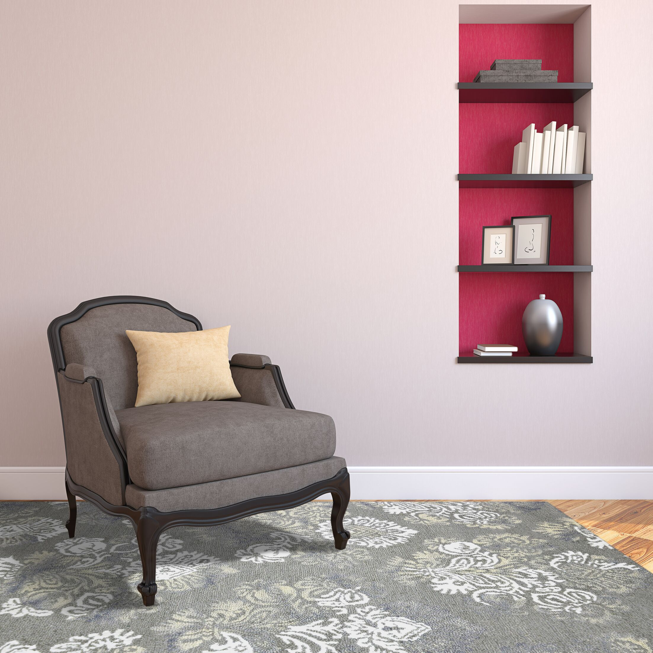 Averi Hand-Tufted Handmade Silver Area Rug Rug Size: 5' x 8'