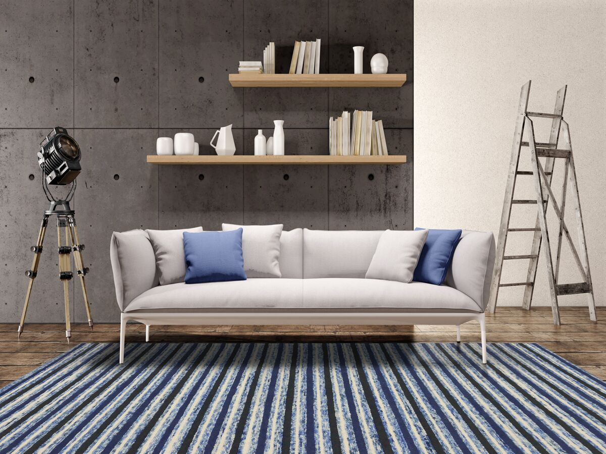 Brookes Hand-Tufted Blue Area Rug Rug Size: Rectangle 7'6