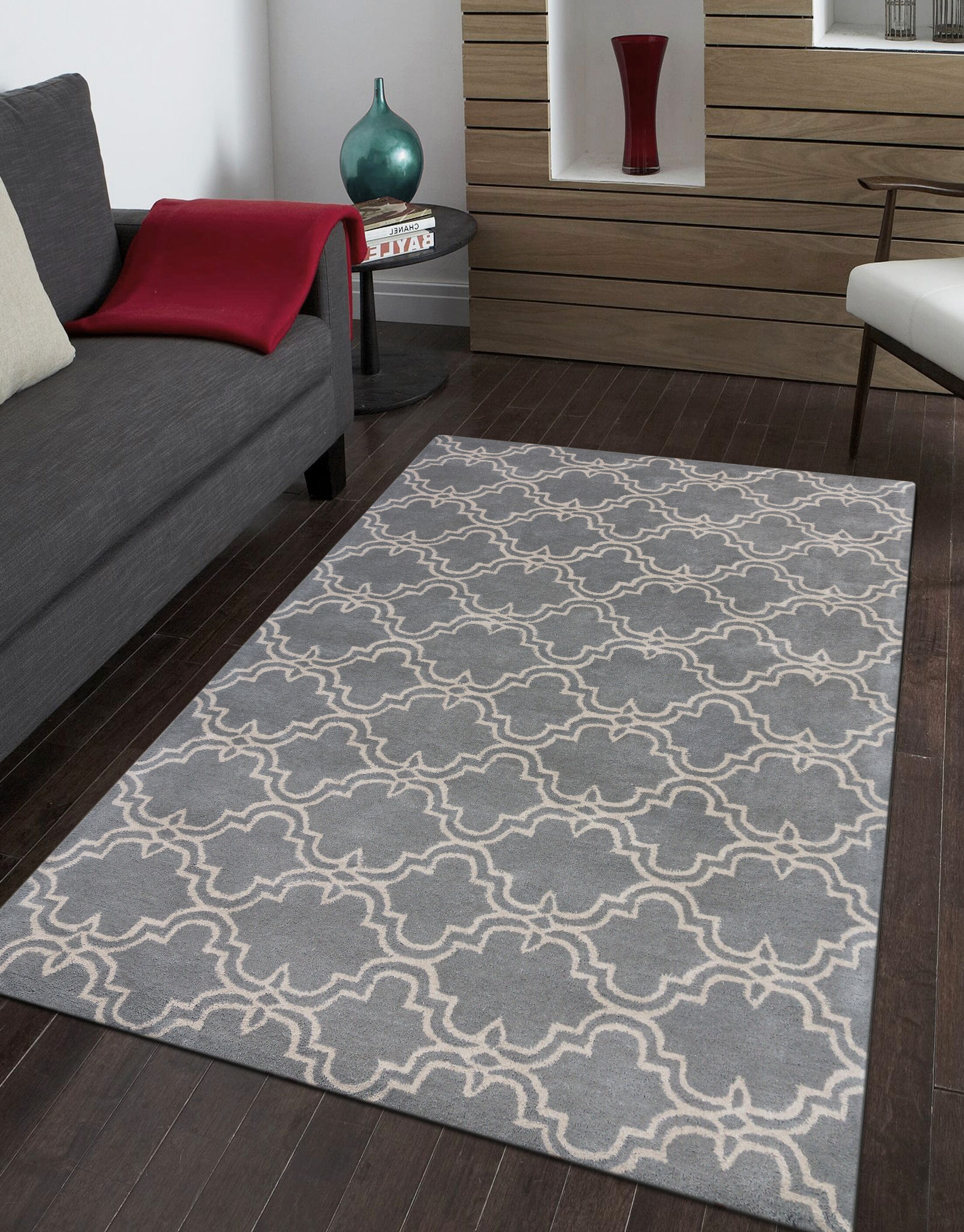 Ladd Trellis Wool Hand-Tufted Gray Area Rug Rug Size: Rectangle 9' x 12'