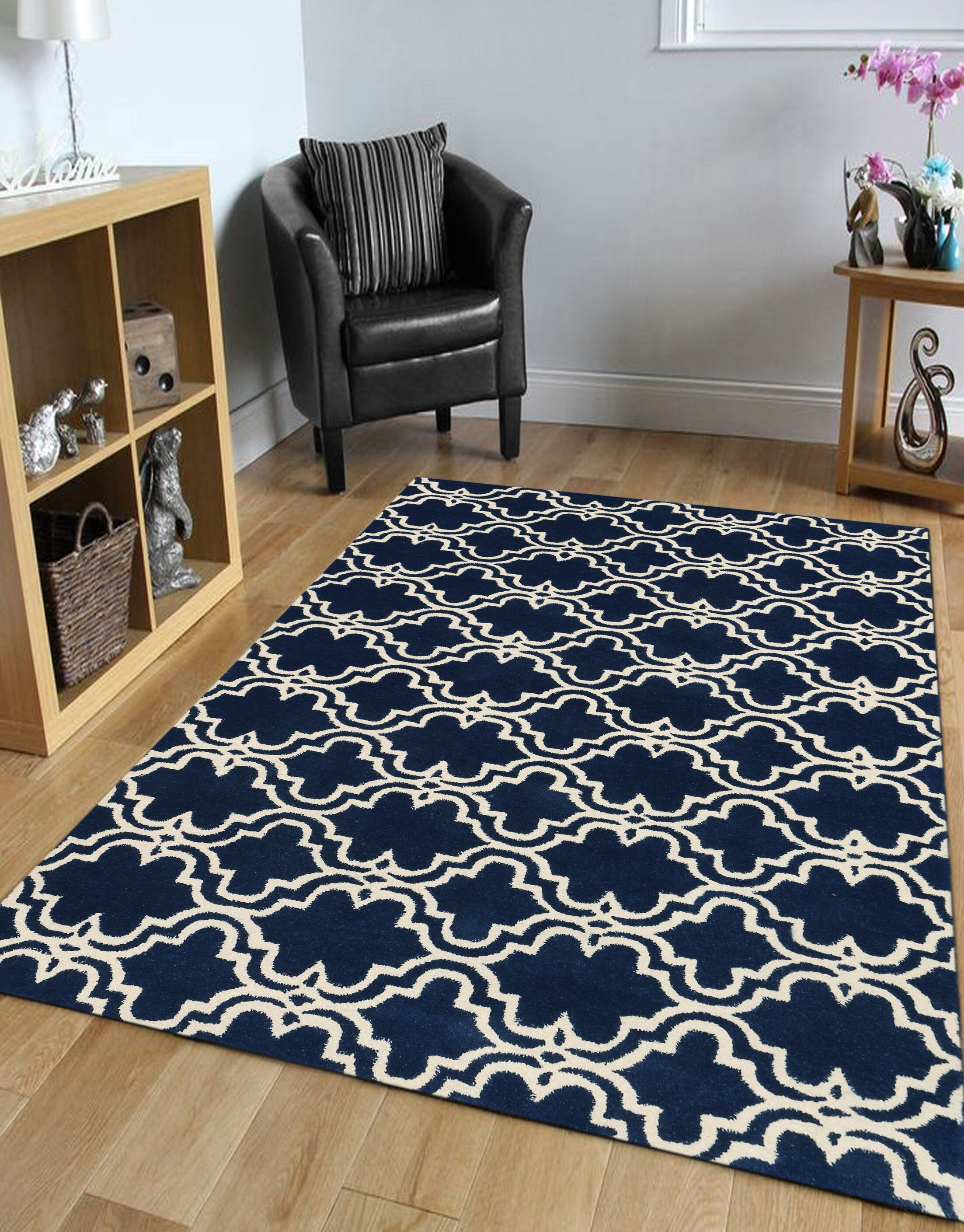 Ladd Trellis Wool Hand-Tufted Navy Area Rug Rug Size: Rectangle 8' x 10'