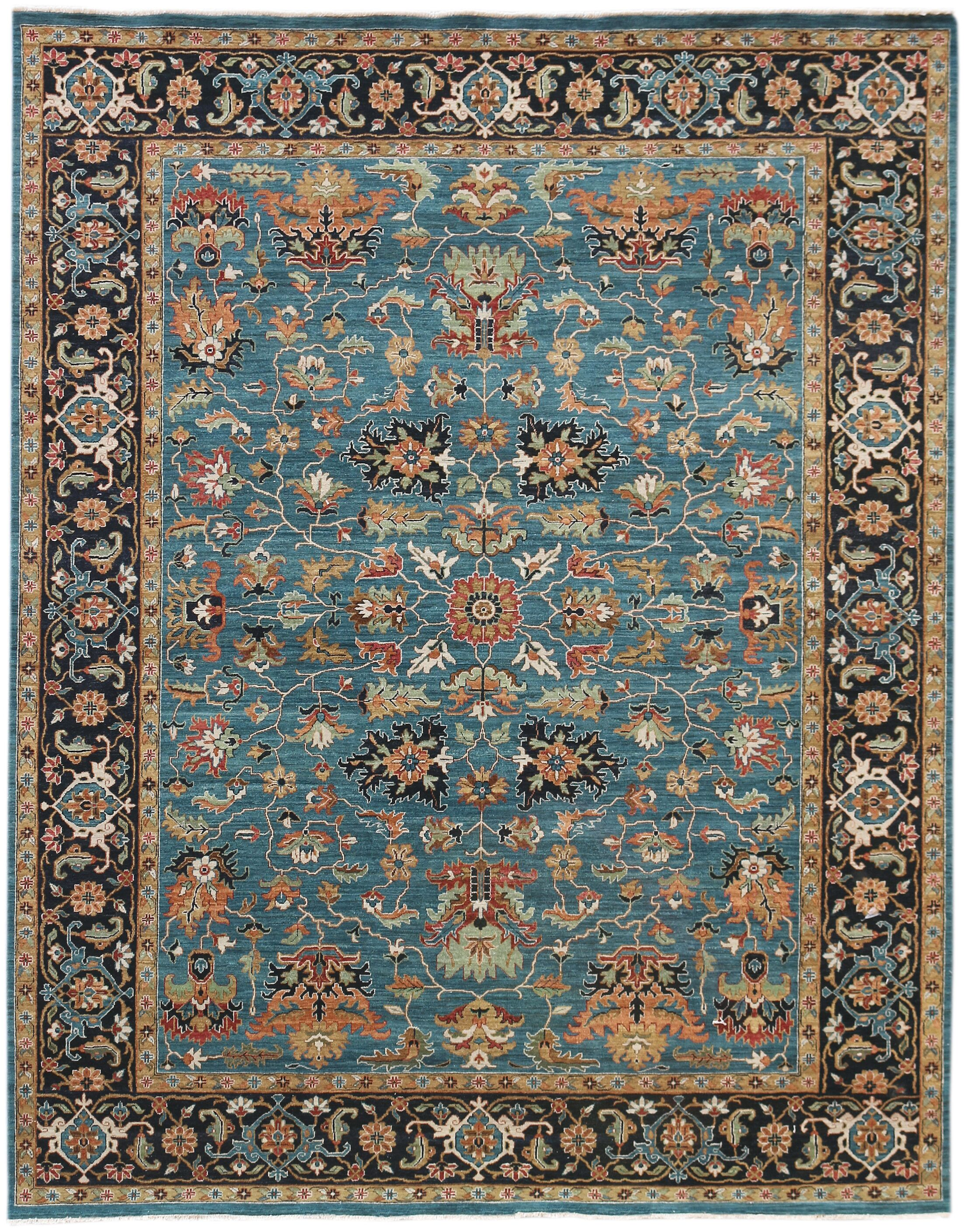Lidiaídia Hand-Woven Wool Turquoise Area Rug Rug Size: Rectangle 12' x 15'