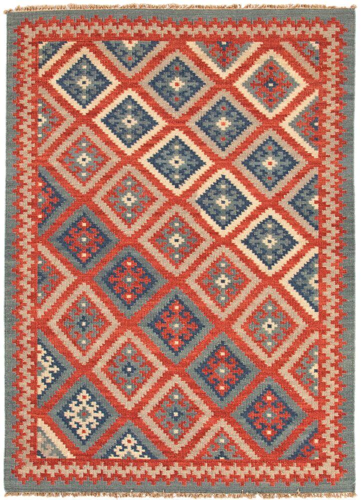 Rubina Burnt Brick/Medium Blue Tribal Area Rug Rug Size: Rectangle 4' x 6'
