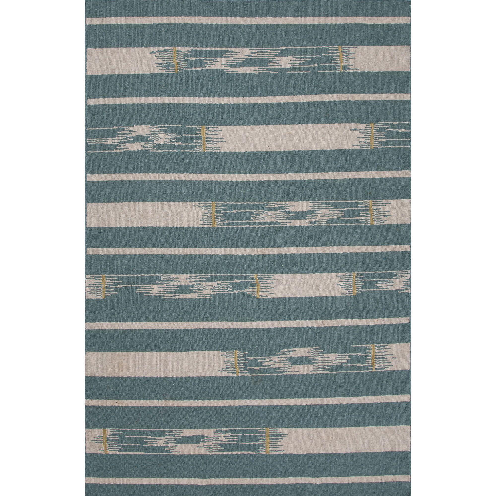 Camarillo Wool Flat Weave Blue/Ivory Area Rug Rug Size: 5' x 8'