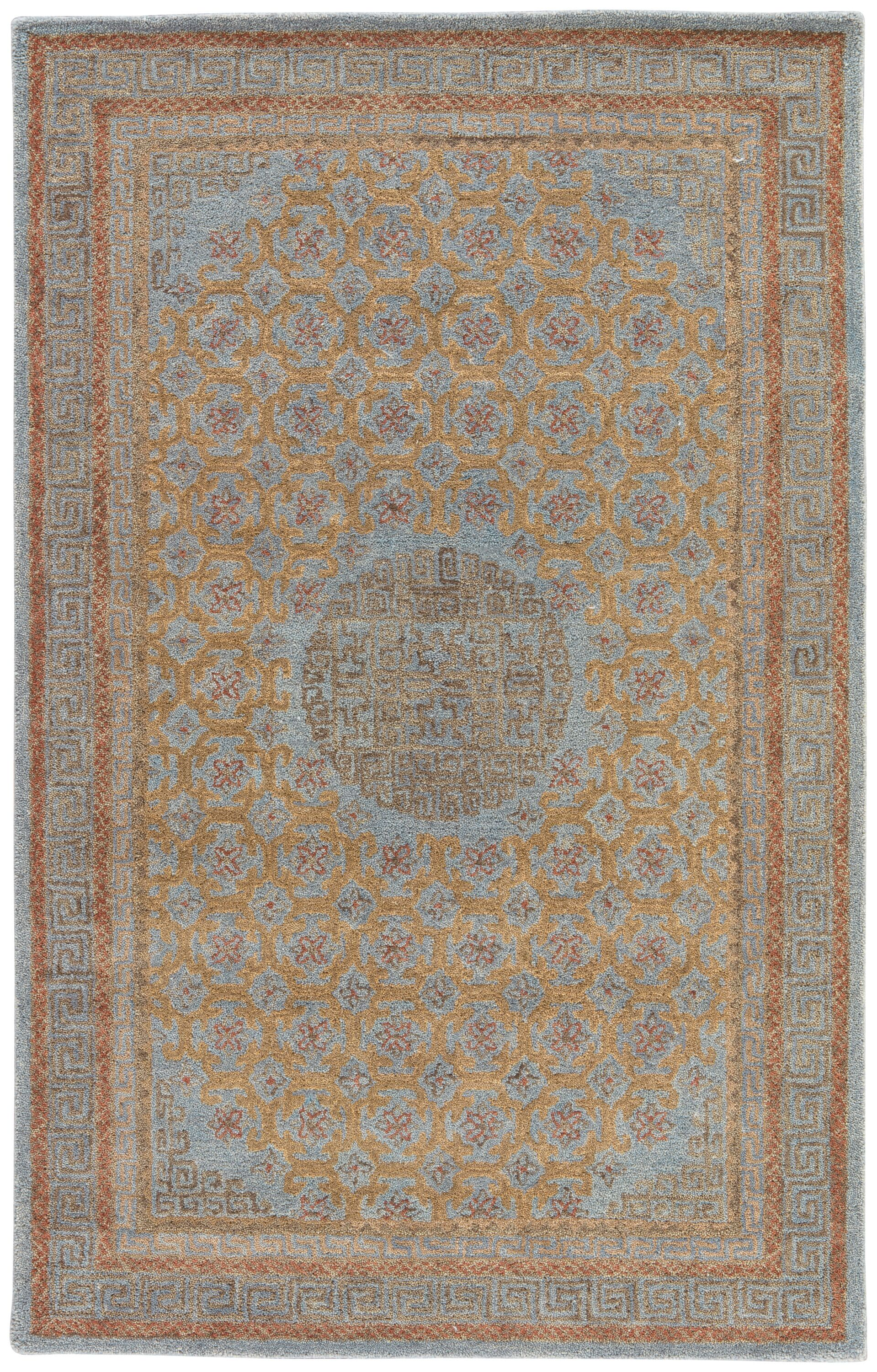 Holden Hand-Tufted Blue/Cinnamon Area Rug Rug Size: Rectangle 2' x 3'