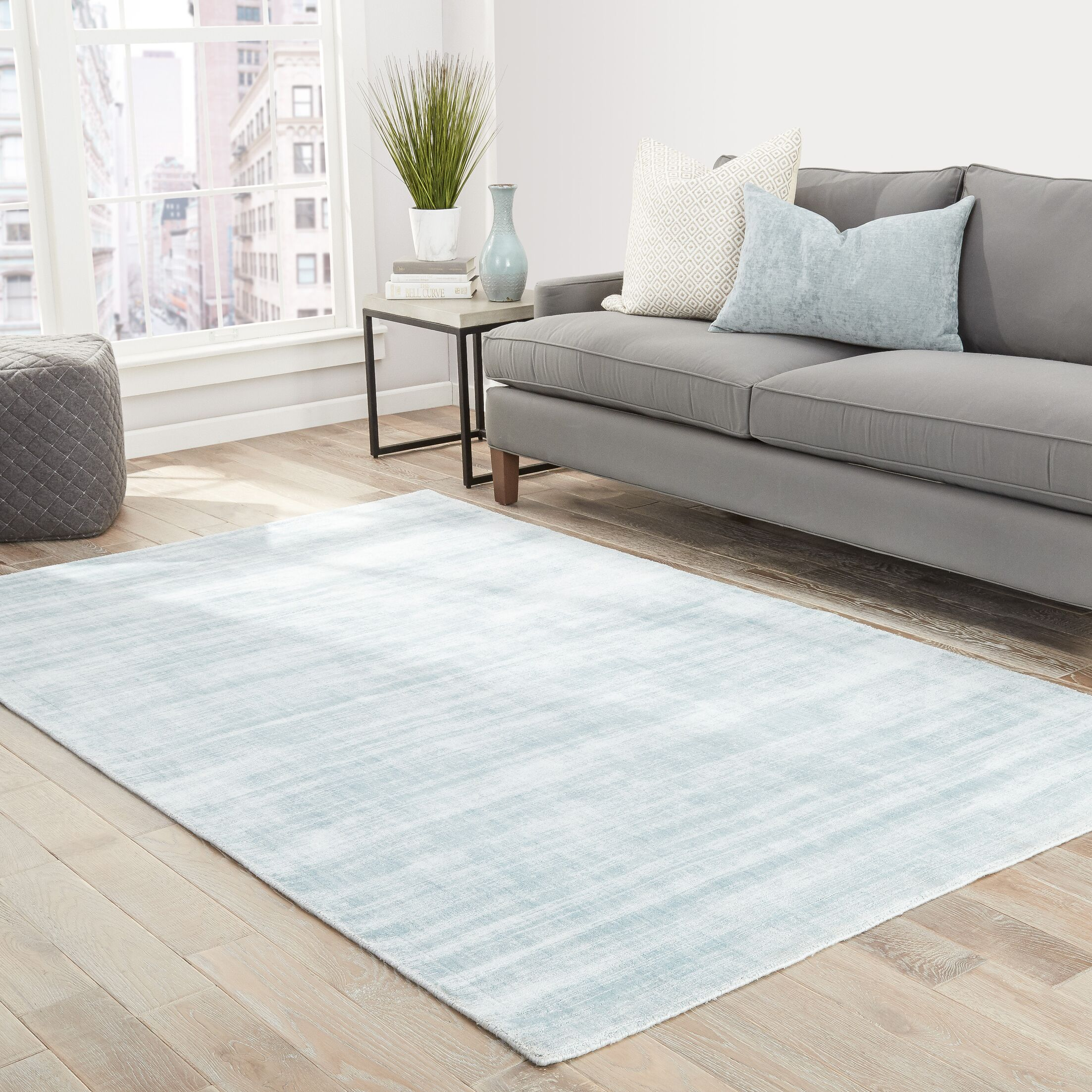 Sara Hand-Woven Gray-blue Area Rug Rug Size: Rectangle 9' x 12'