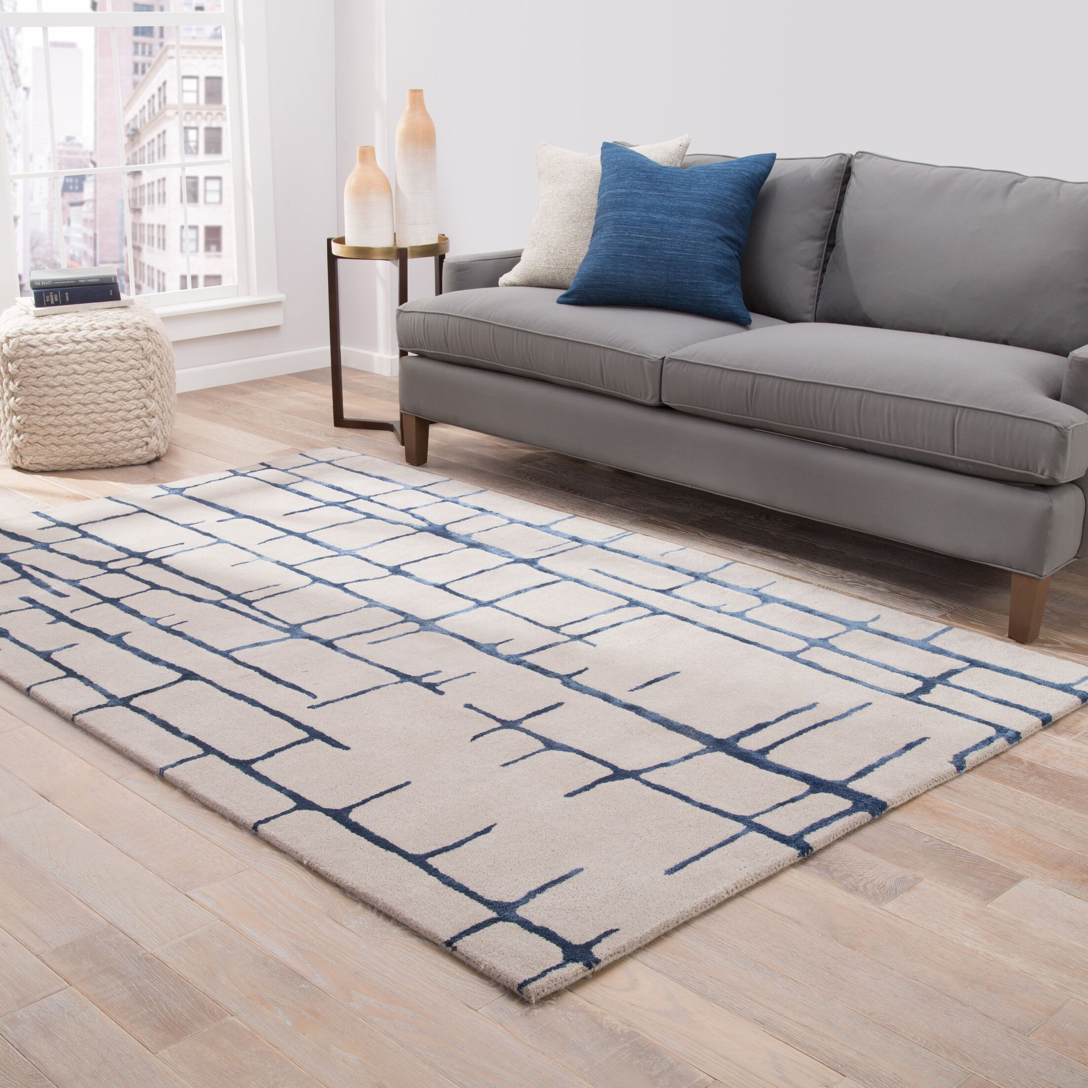Heinrich Hand-Tufted Taupe/Navy Area Rug Rug Size: Rectangle 8' x 10'