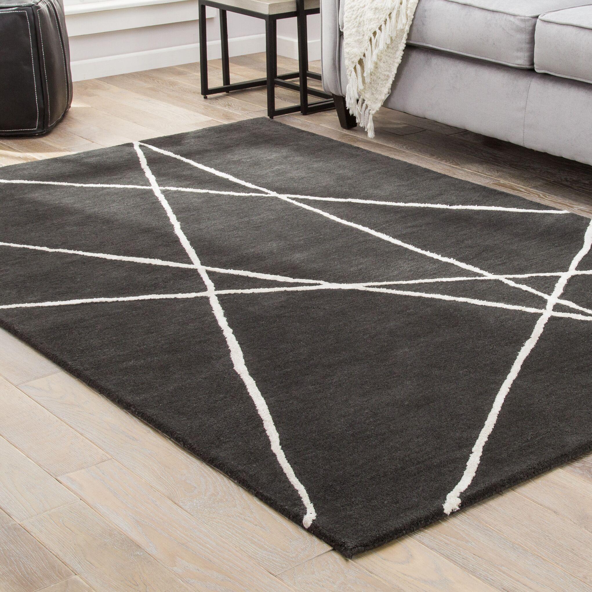 Ashton Hand-Tufted Black/White Area Rug Rug Size: Rectangle 9' x 12'