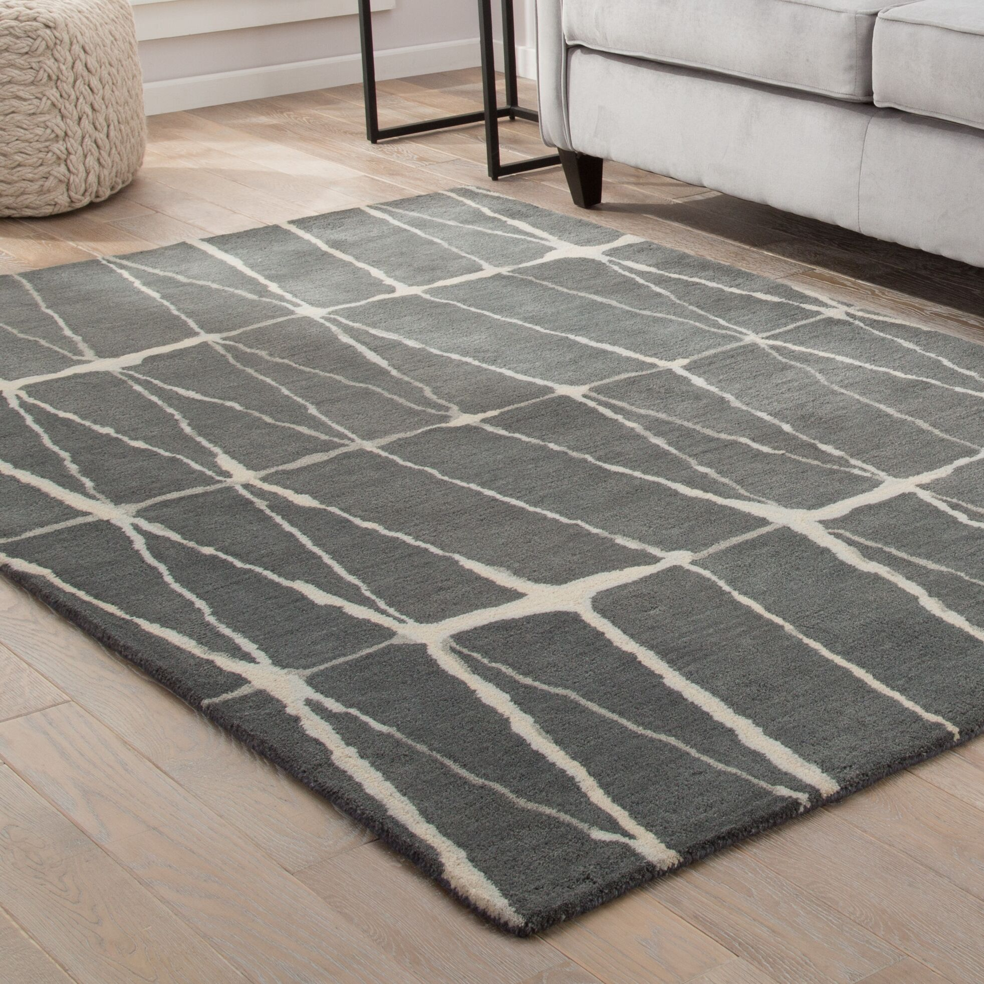 Heiss Hand-Tufted Gray/Cream Area Rug Rug Size: Rectangle 9' x 13'