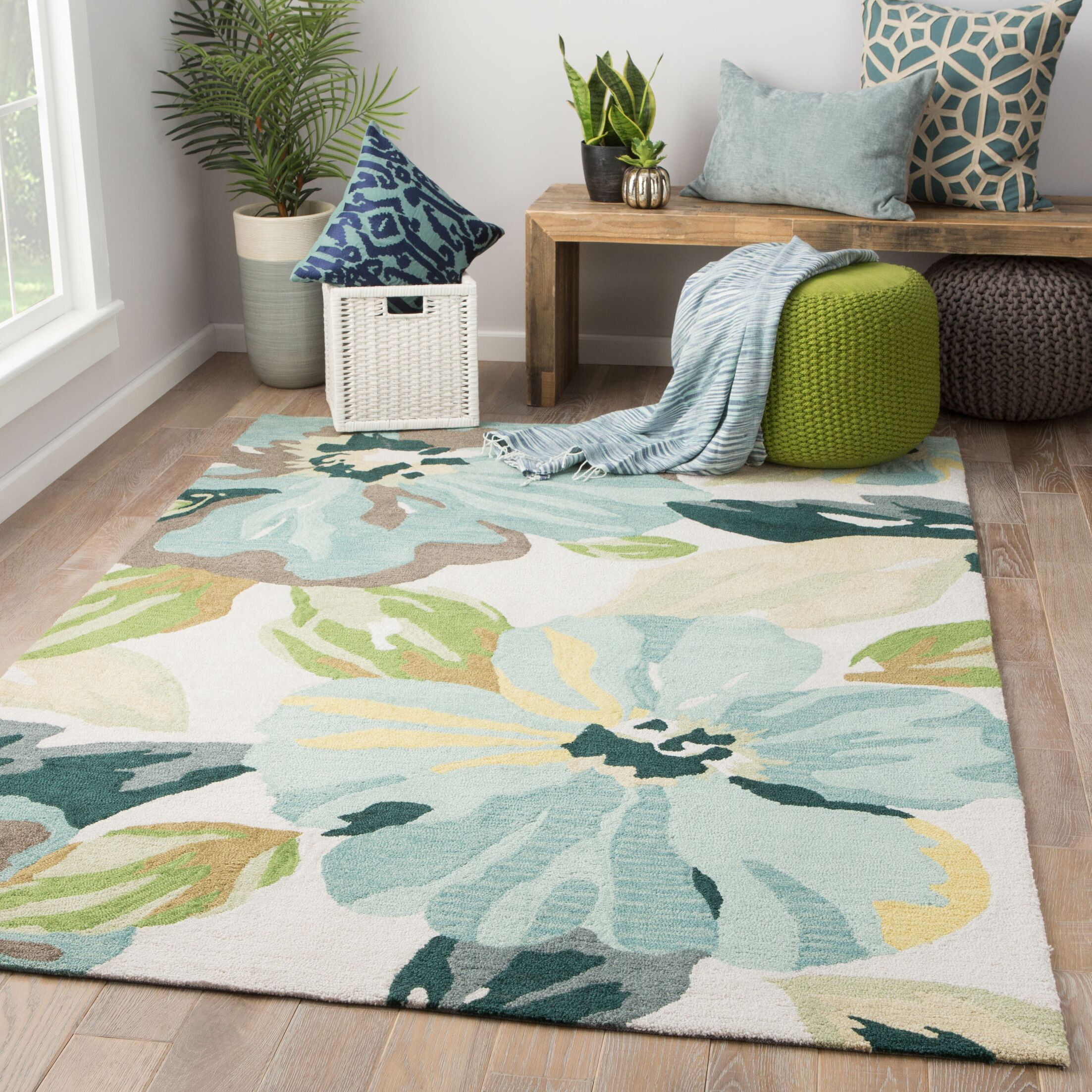 Isidore Hand Tufted Blue/Green Area Rug Rug Size: Rectangle 5' x 7'6