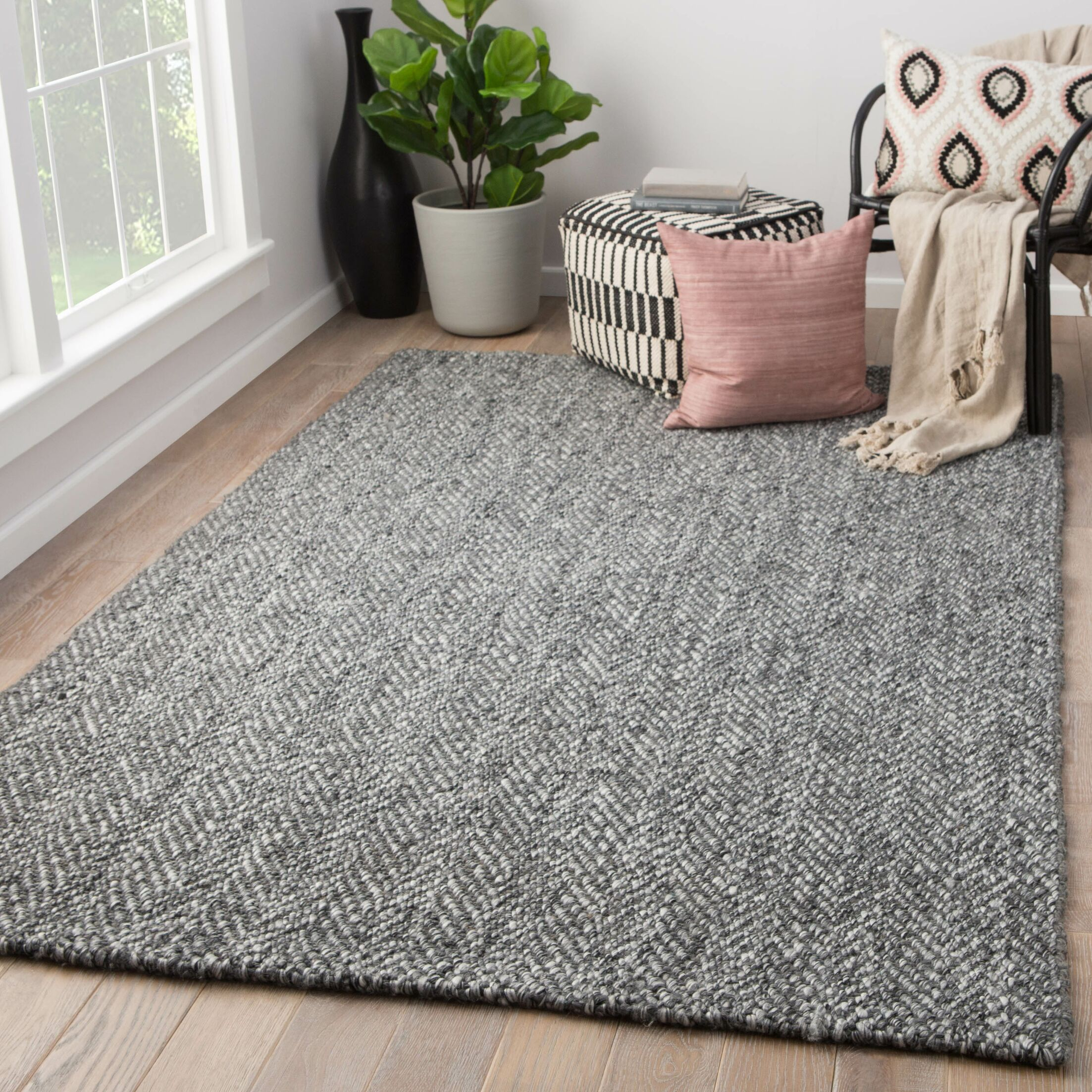 Terre Hand-Loomed Black Area Rug Rug Size: Rectangle 9' x 12'