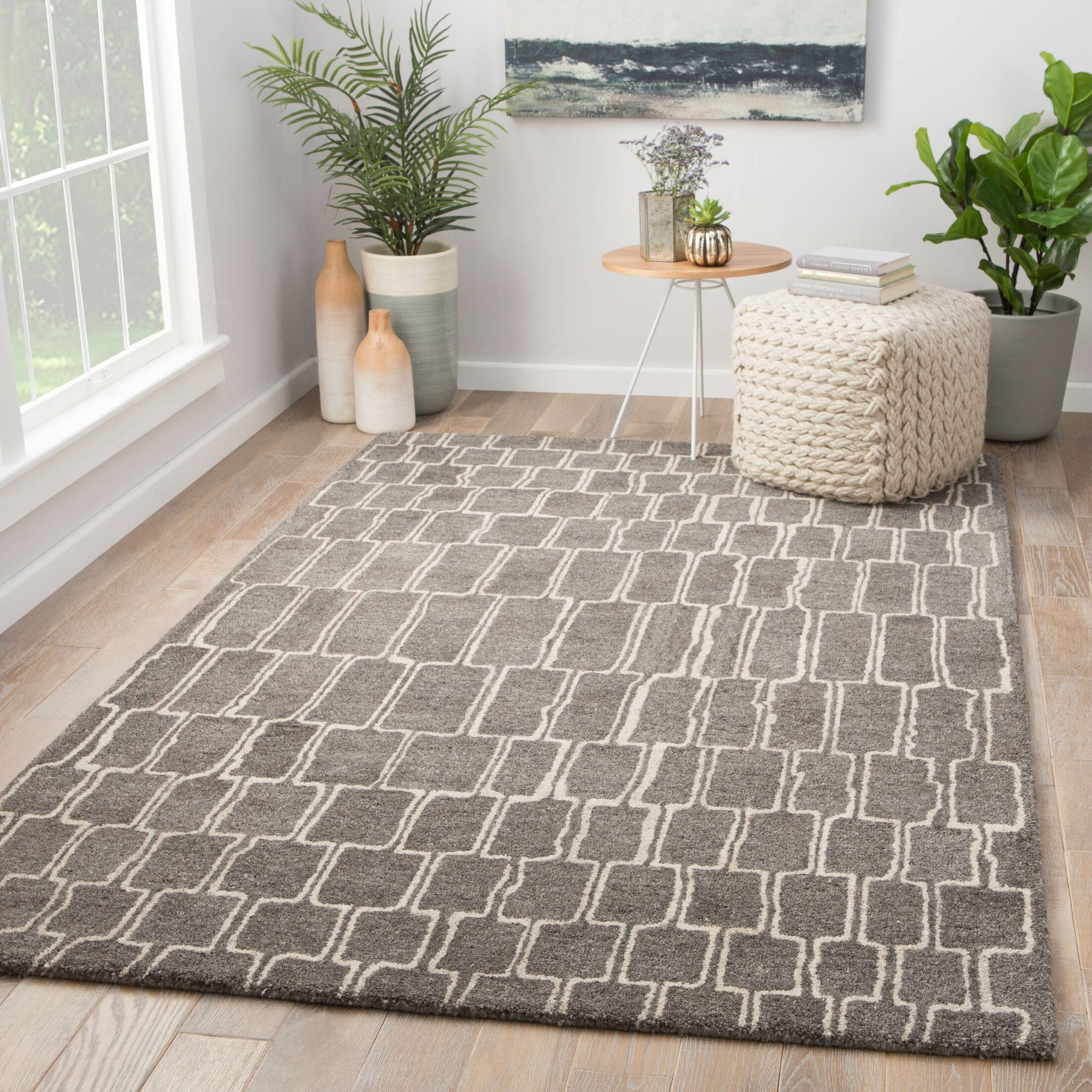 Slate Hand-Tufted Wool Brown Area Rug Rug Size: Rectangle 2' x 3'