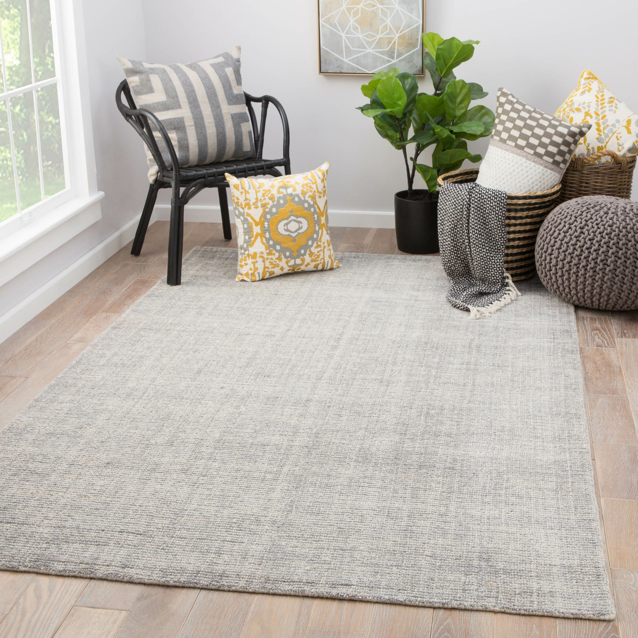 Lev Hand-Knotted Light Gray Area Rug Rug Size: Rectangle 9' x 13'
