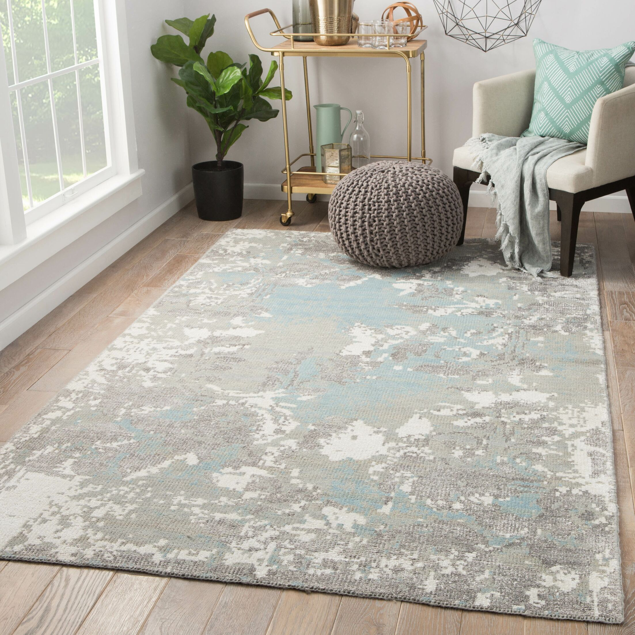 Alzira Hand Knotted Gray Area Rug Rug Size: Rectangle 9' x 13'