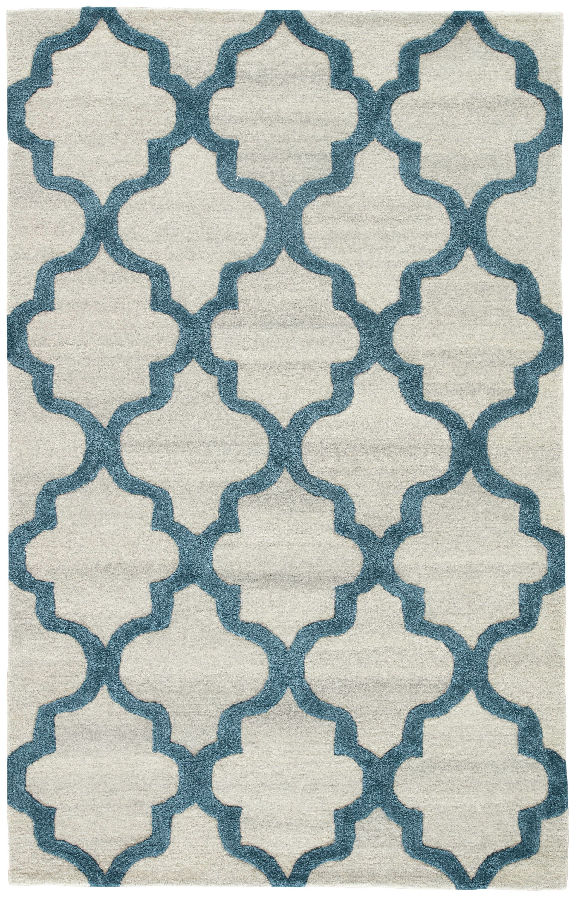 Portland Hand-Tufted Silver/Blue Area Rug Rug Size: Rectangle 5' x 8'