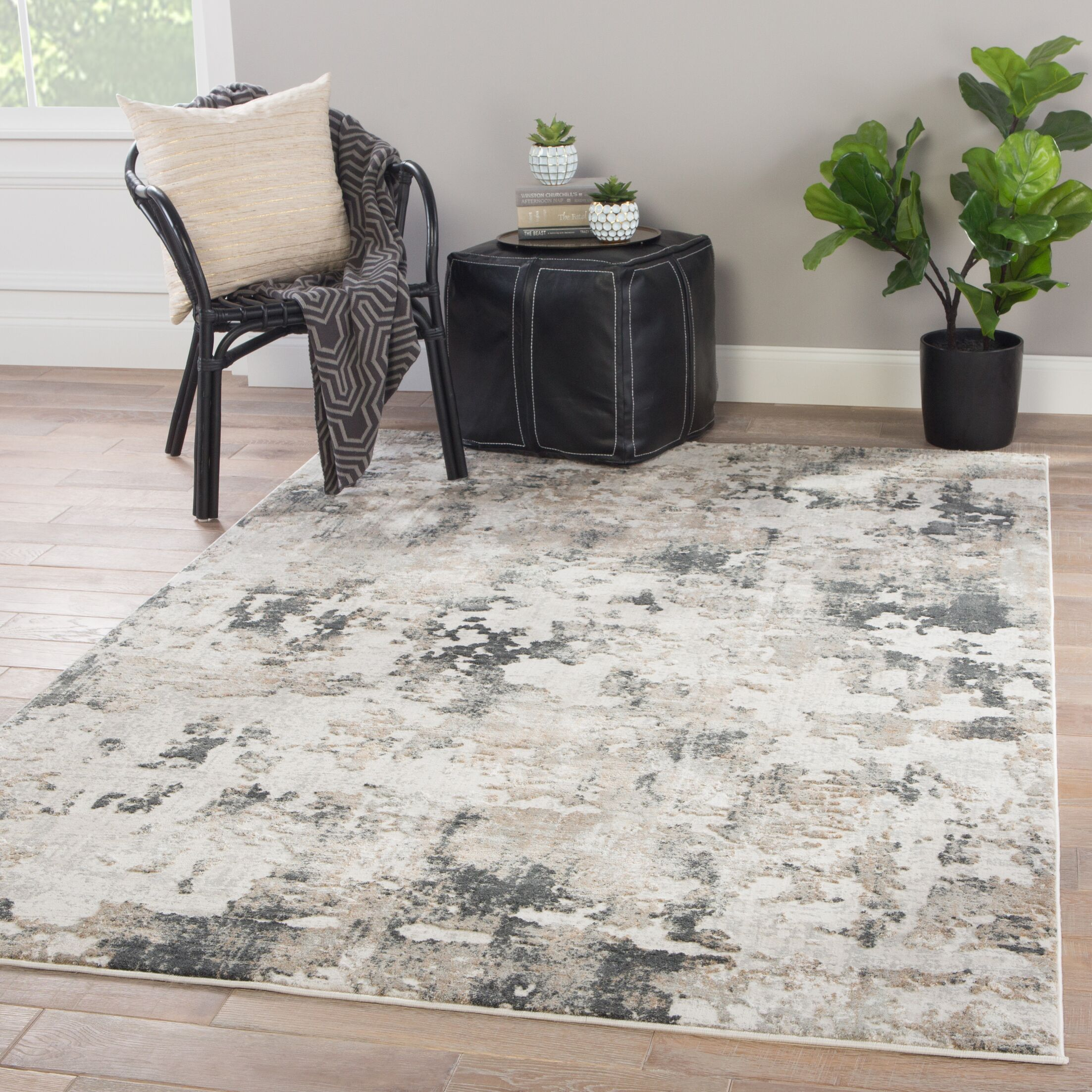 Benson Abstract Gray Area Rug Rug Size: Rectangle 9' x 12'
