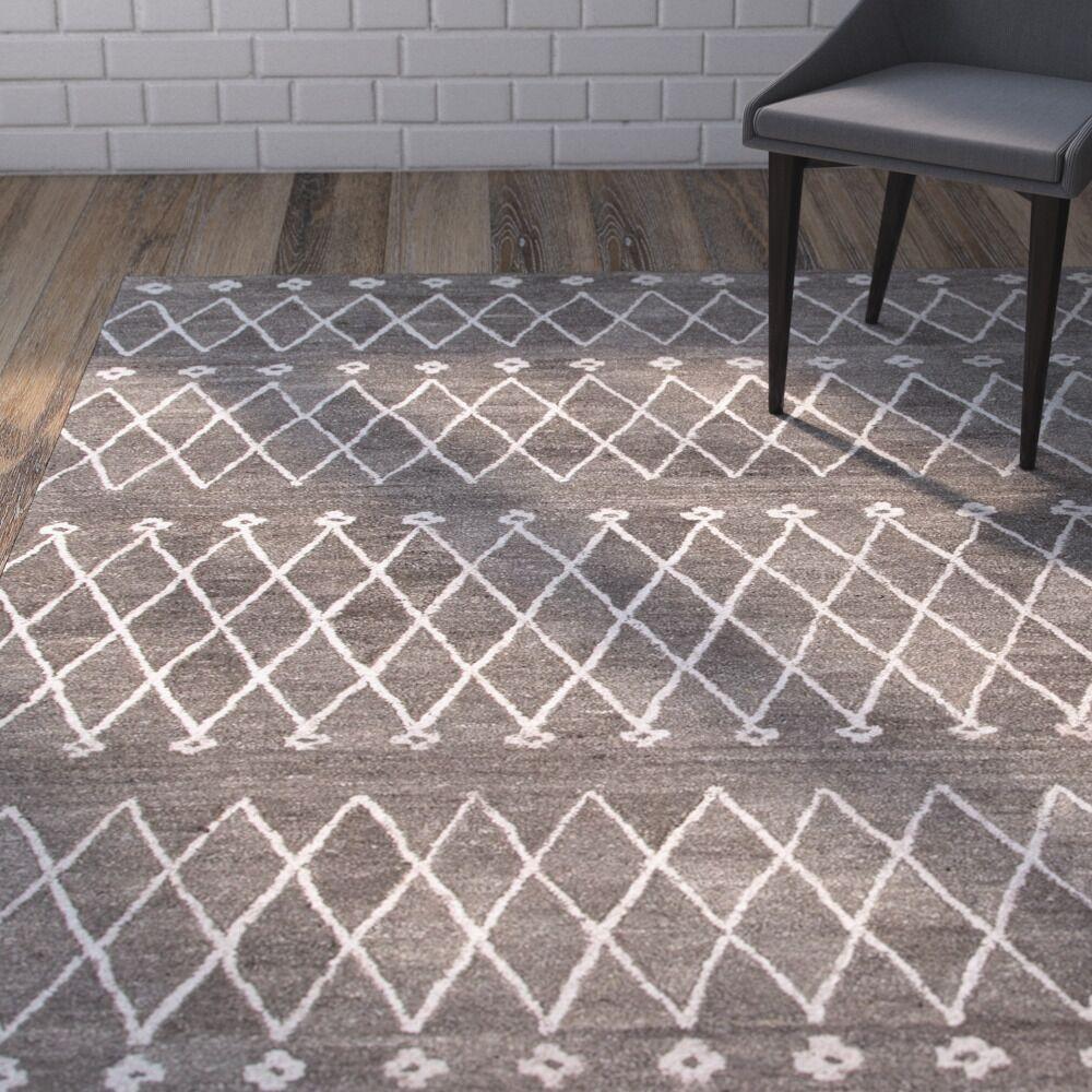 Reyansh Hand-Woven Wool Gray Rug Rug Size: Rectangle 4' x 6'