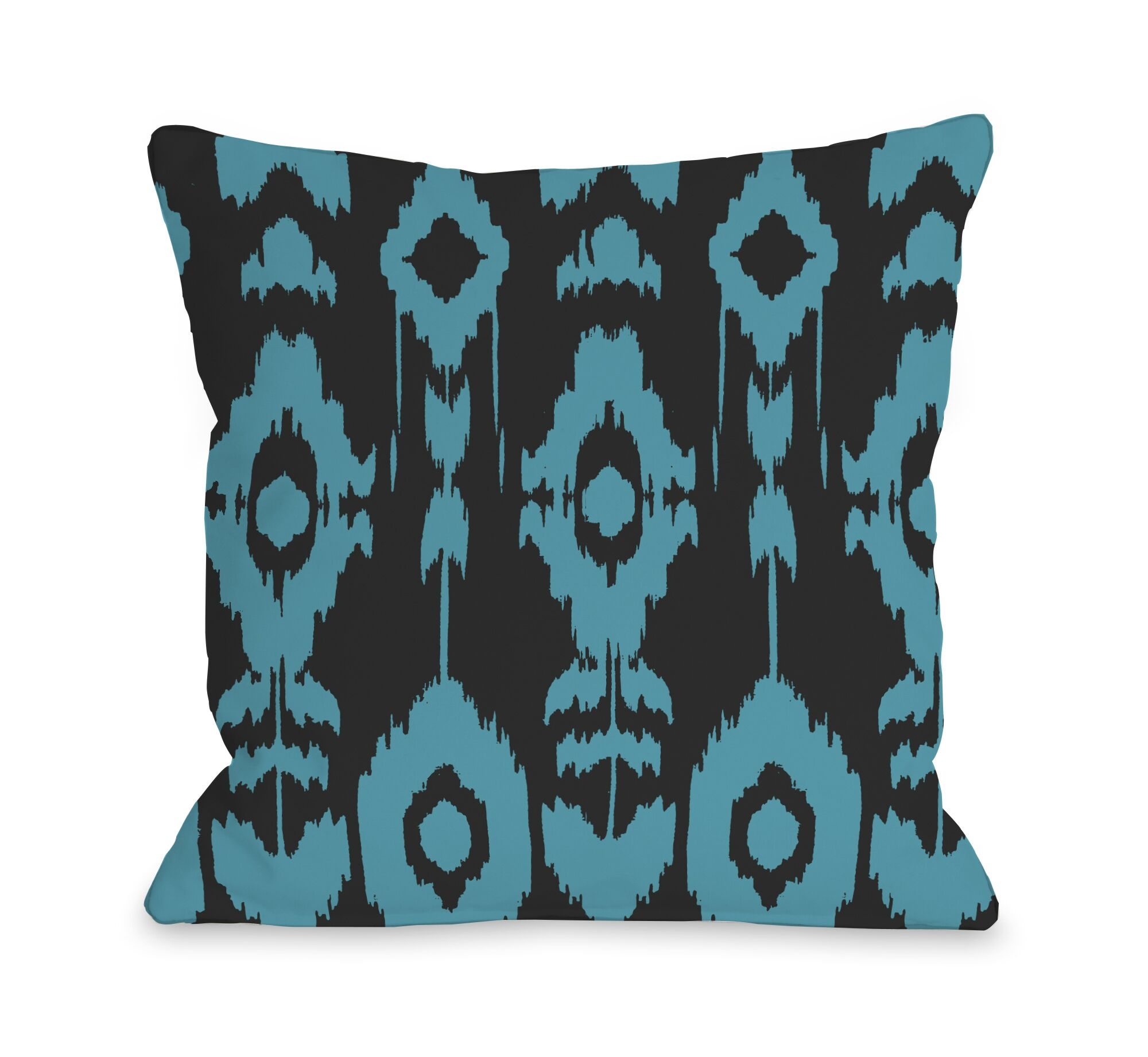 Forever Ikat Throw Pillow Color: Dark Gray Peacock Blue