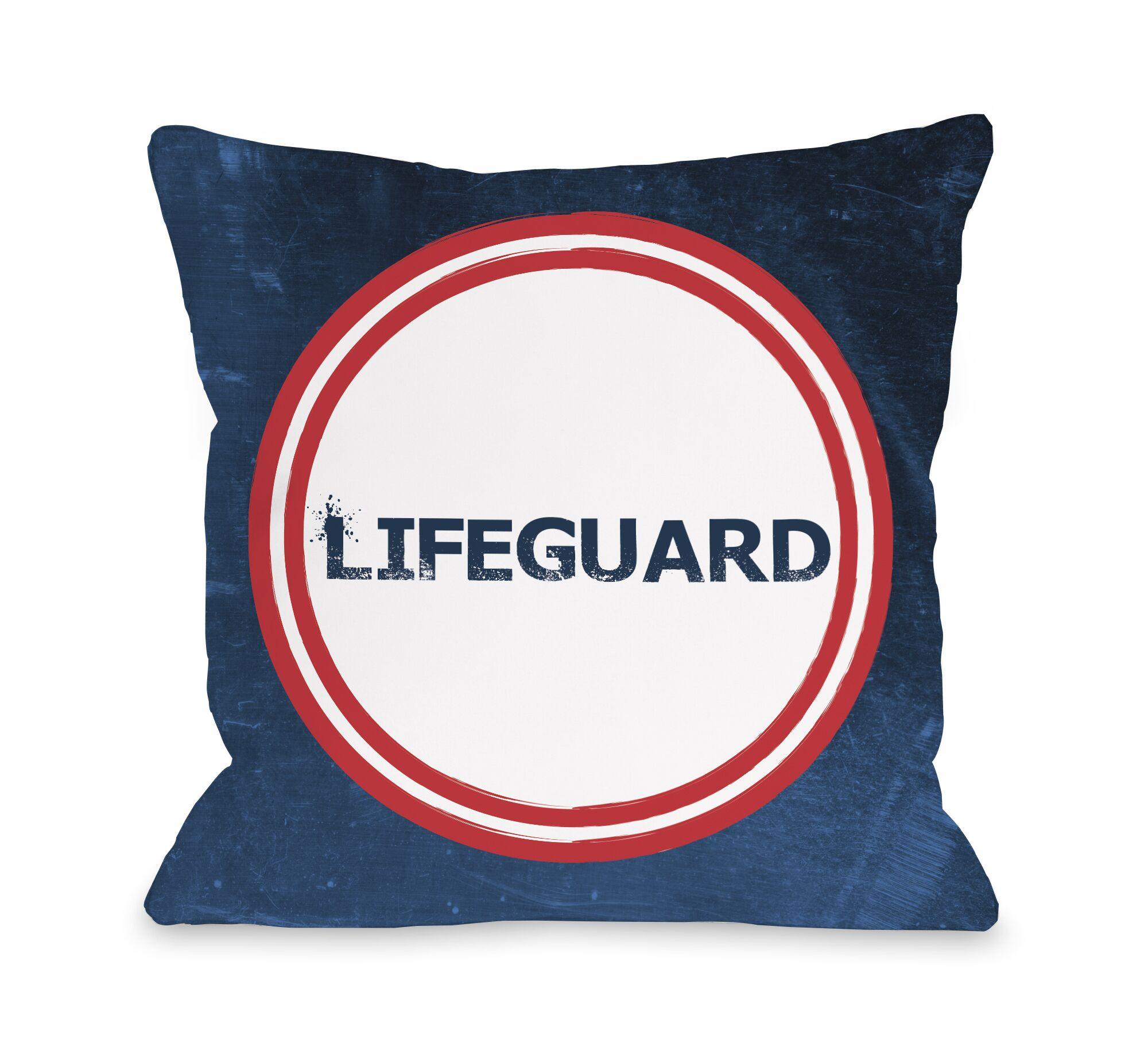 Lifeguard Throw Pillow Size: 18