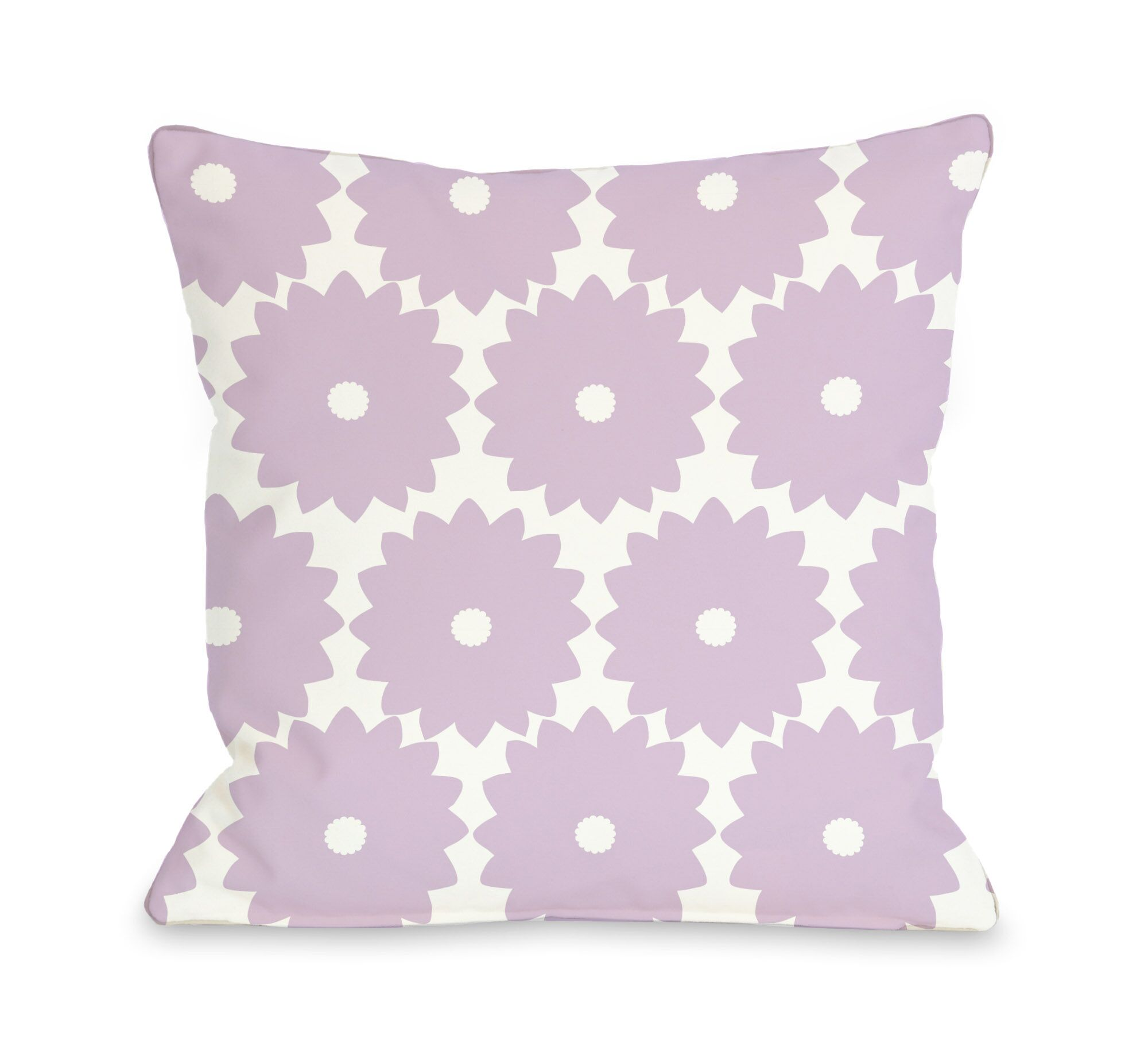 Gia Flower Print Throw Pillow Color: Lilac, Size: 18