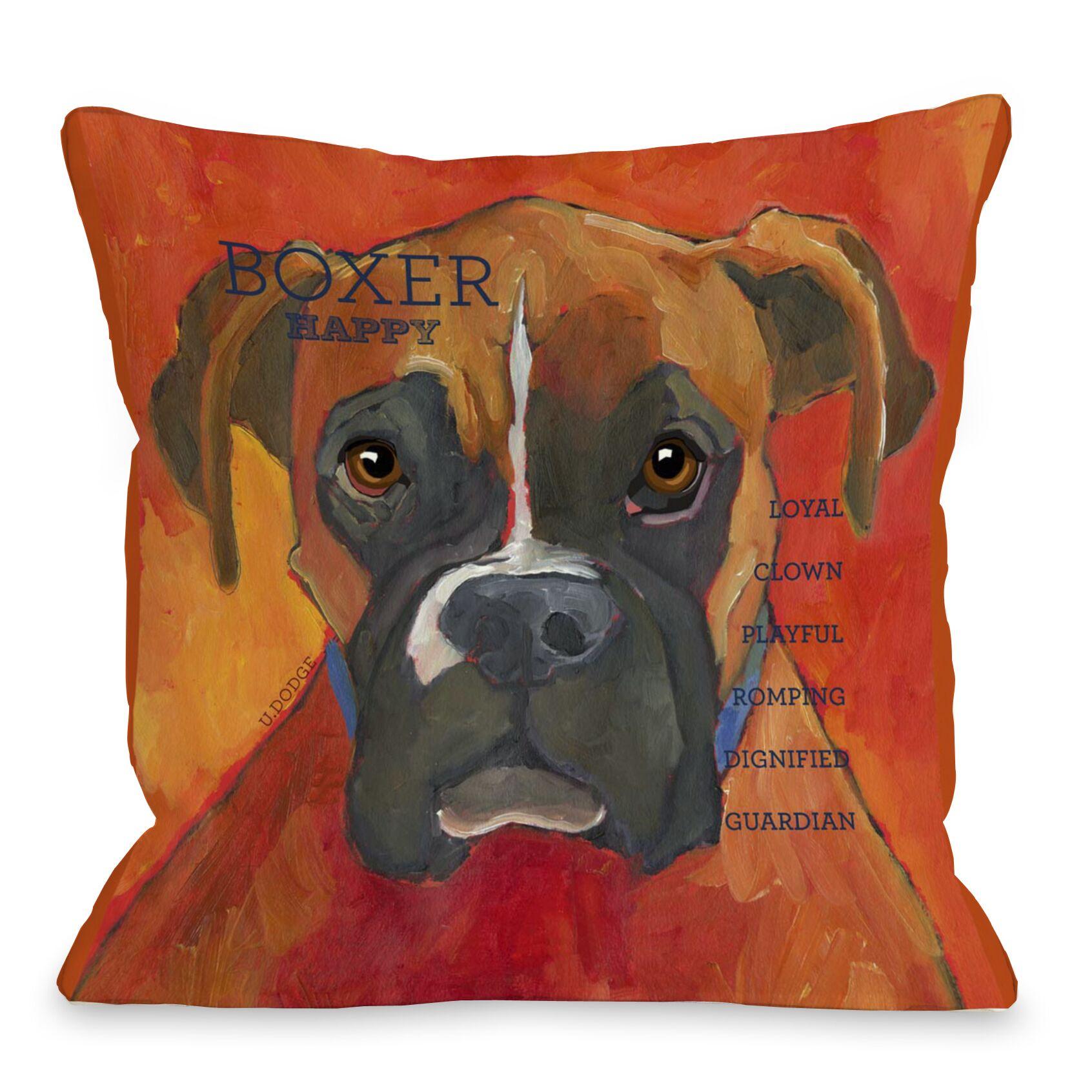 Doggy Décor Boxer Throw Pillow Size: 18