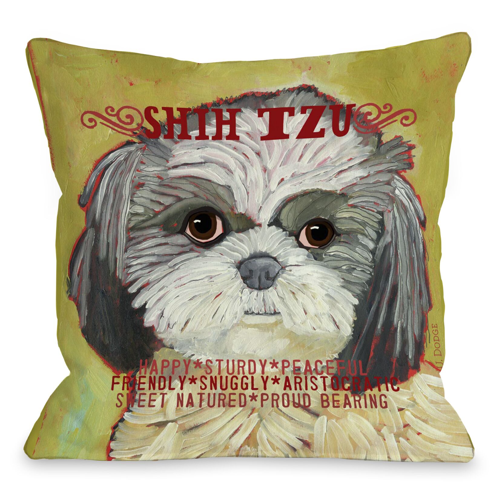 Doggy Décor Shih Tzu Throw Pillow Size: 26