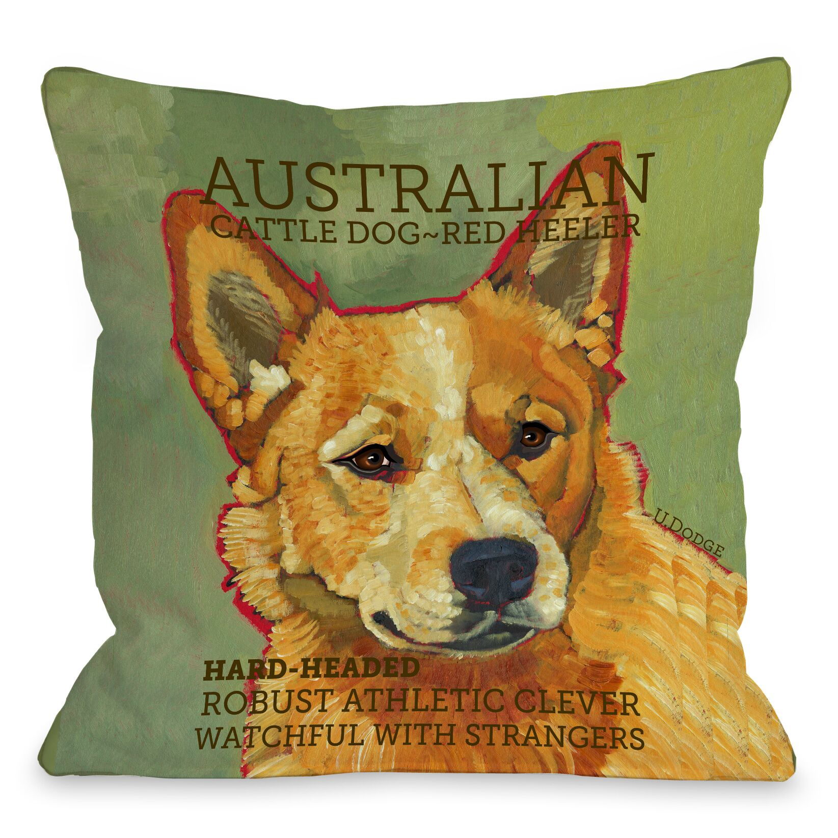 Doggy Décor Austrialian Cattle 2 Dog Throw Pillow Size: 26