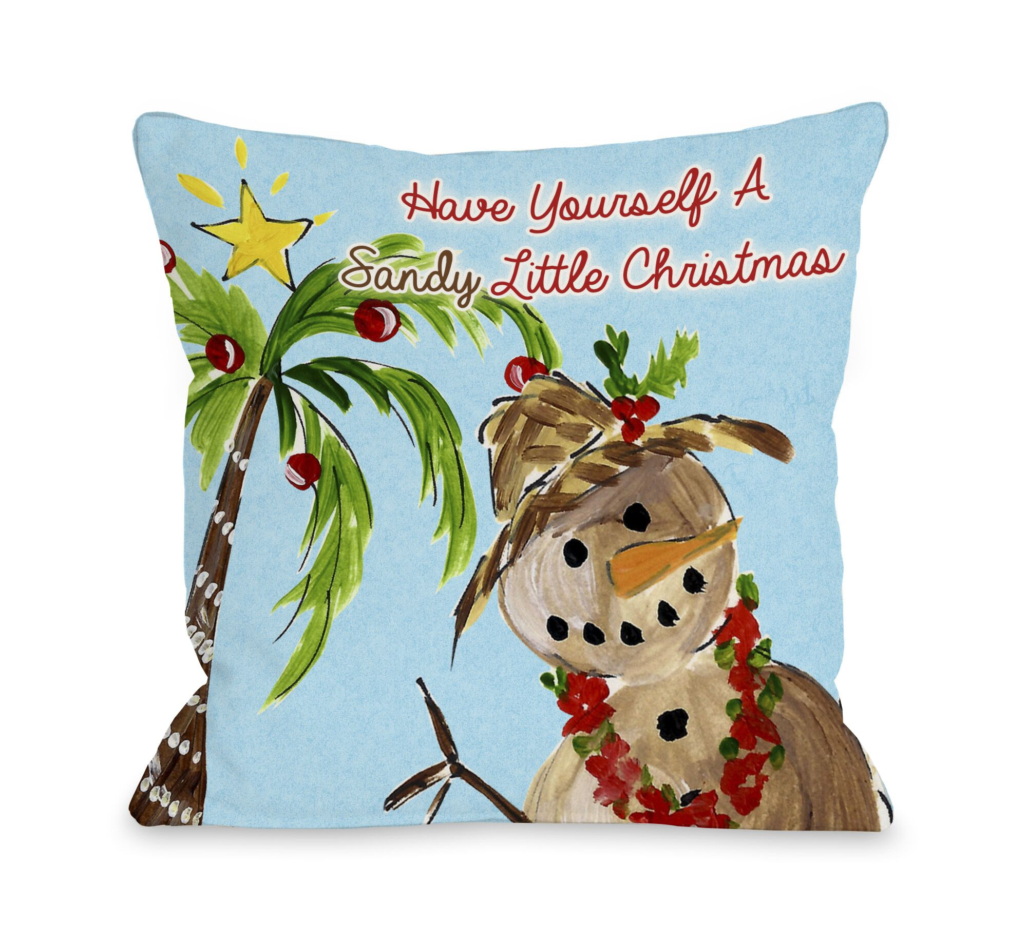 Sandy Little Christmas Throw Pillow Size: 18