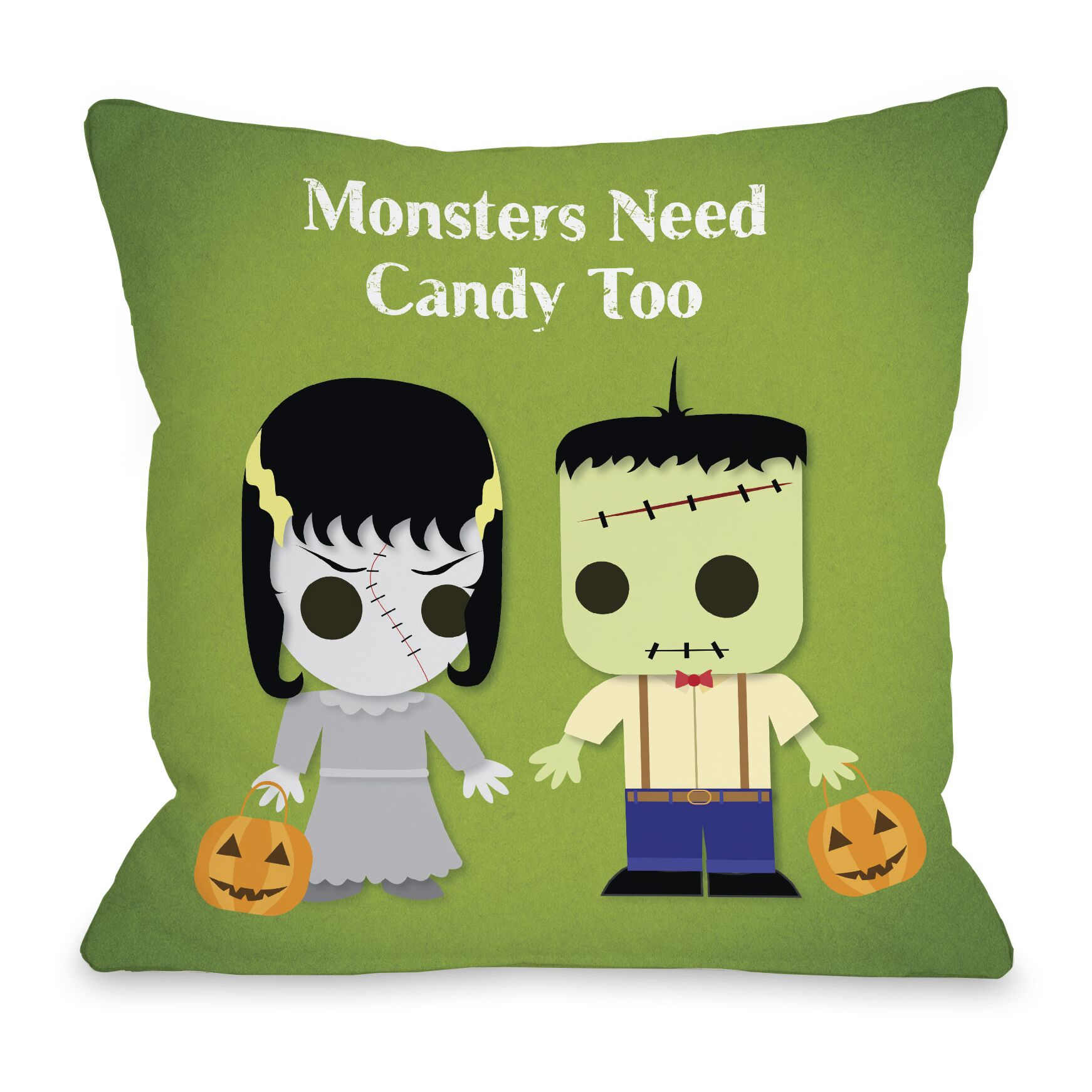 Monsters Need Candy Too Throw Pillow Size: 18