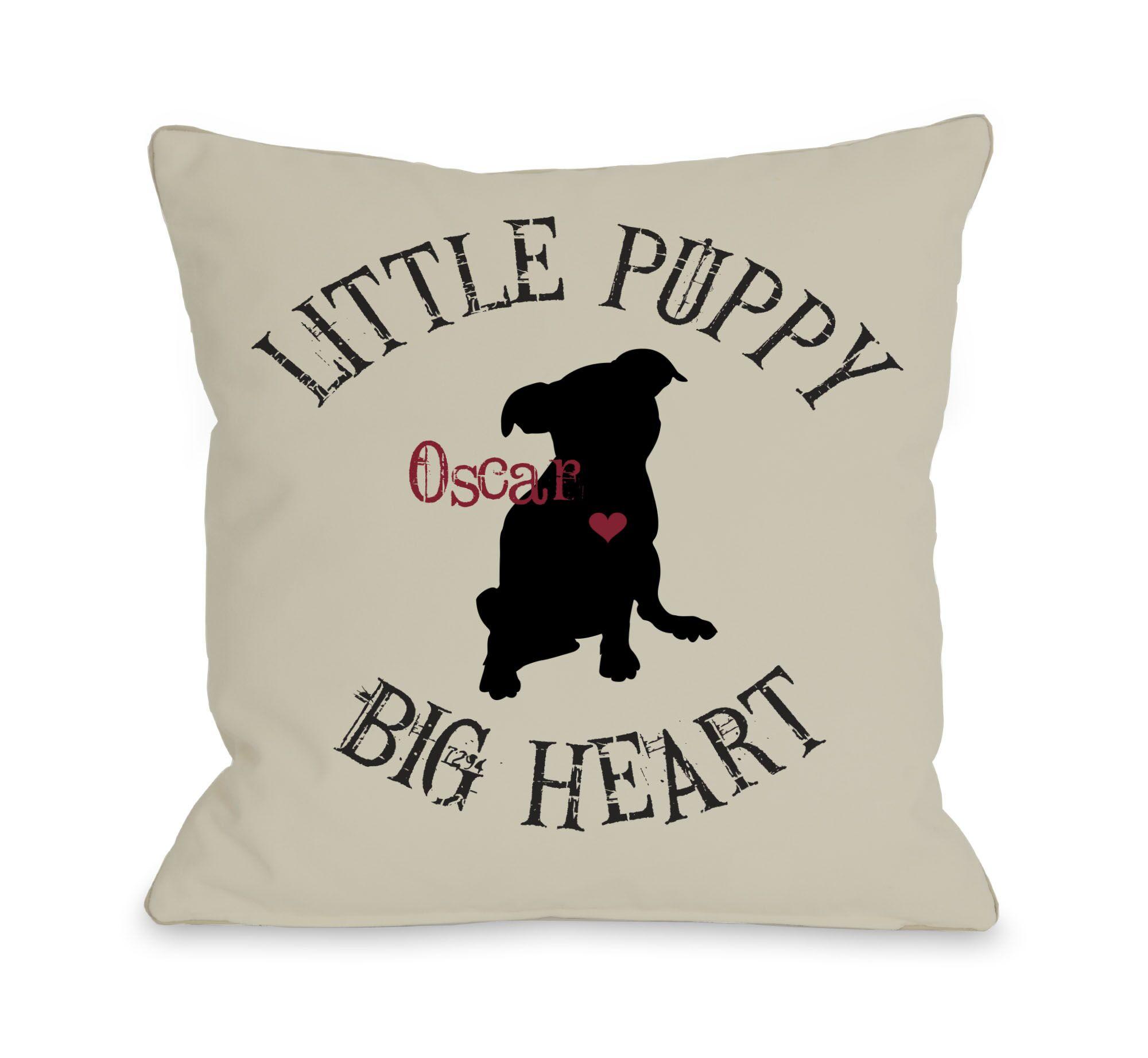Little Puppy, Big Heart Personalized Fleece Throw Pillow