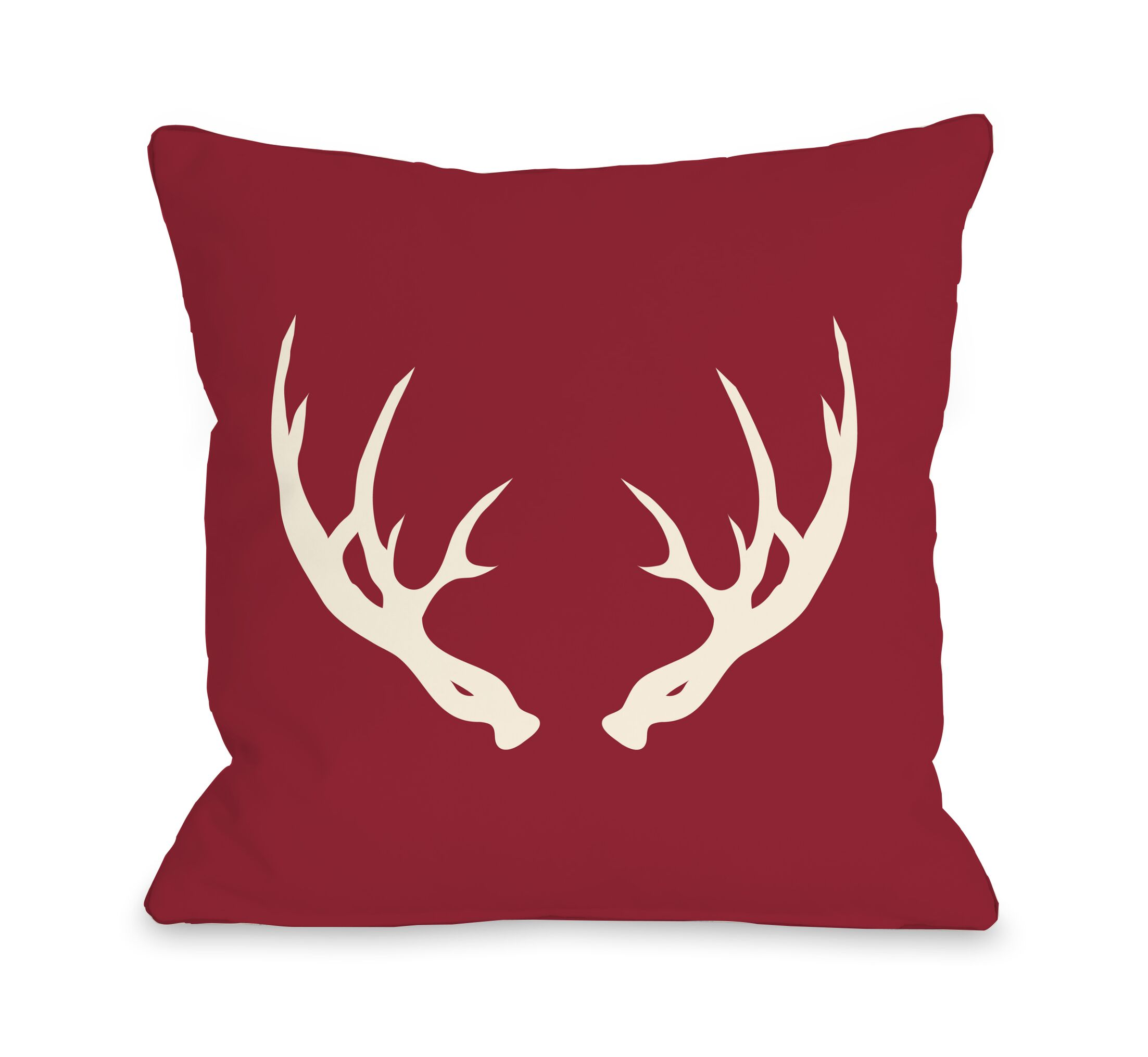 Adler Antlers Throw Pillow Size: 18