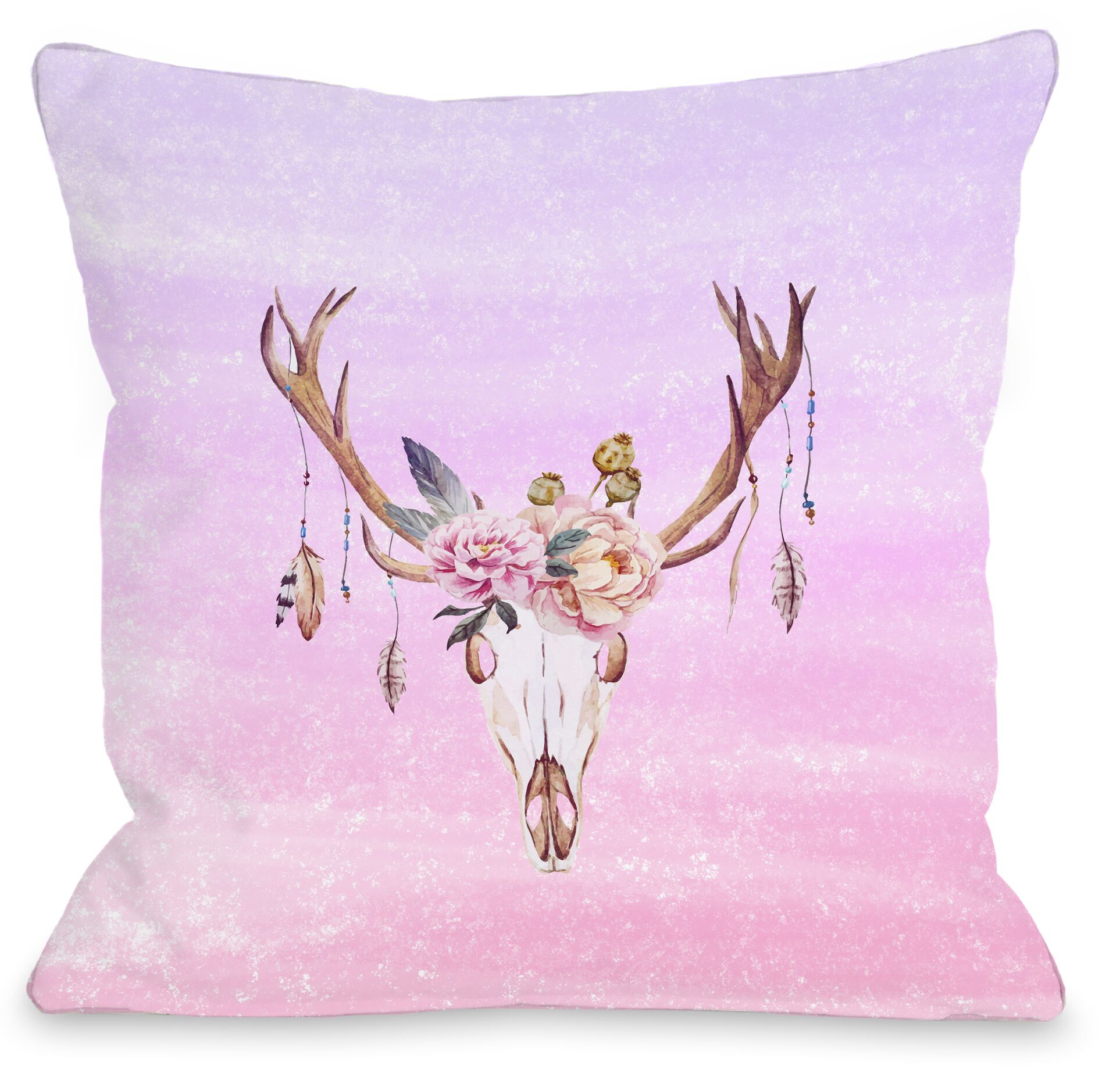Deer Head Peony Throw Pillow Size: 18
