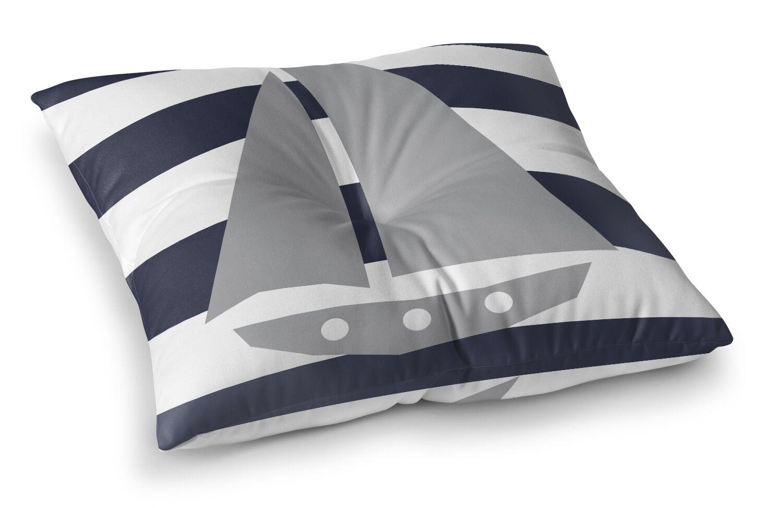 Daniel Striped Sailboat Outdoor Floor Pillow Size: 23
