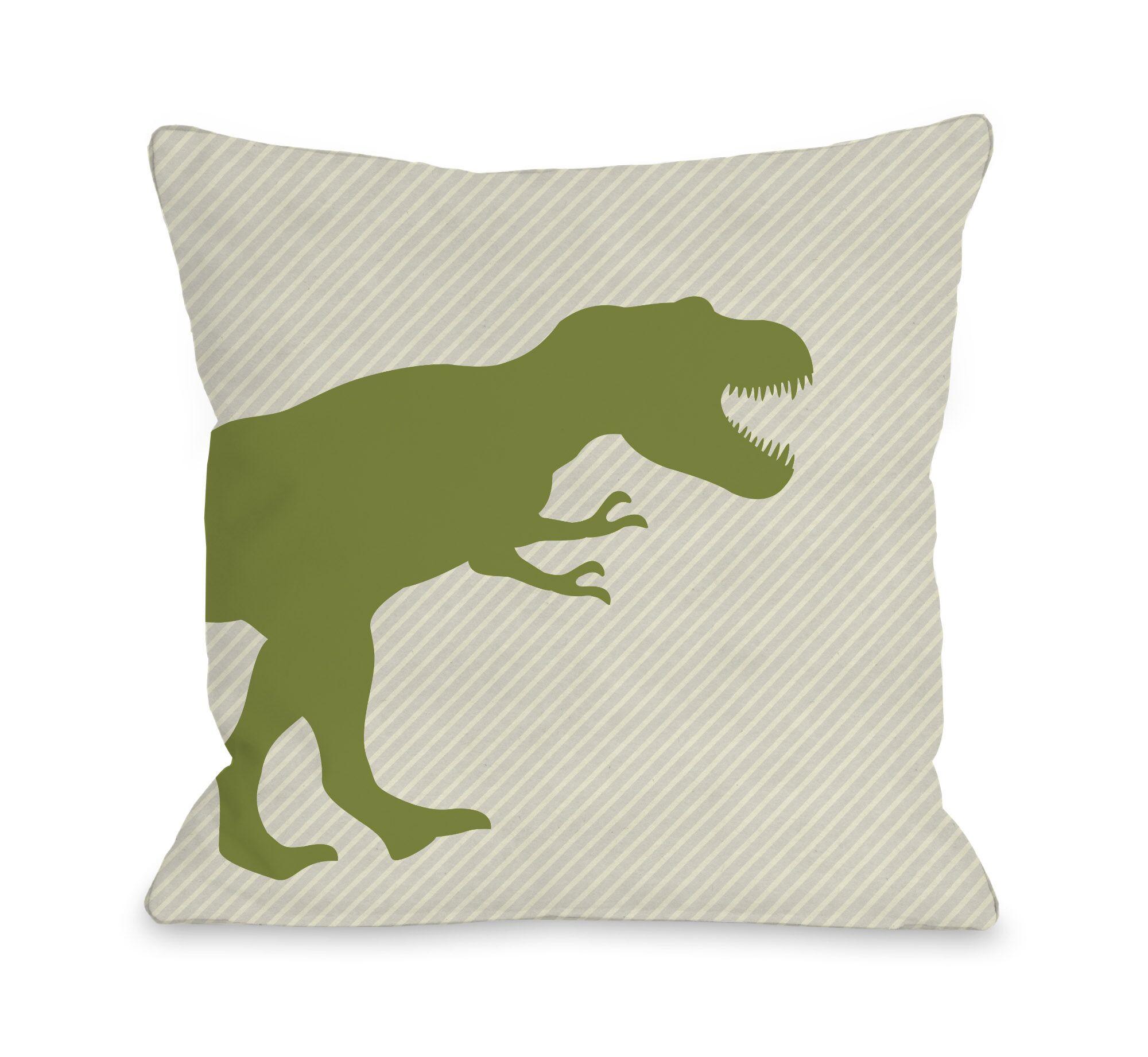 T Rex Stripe Throw Pillow Size: 16