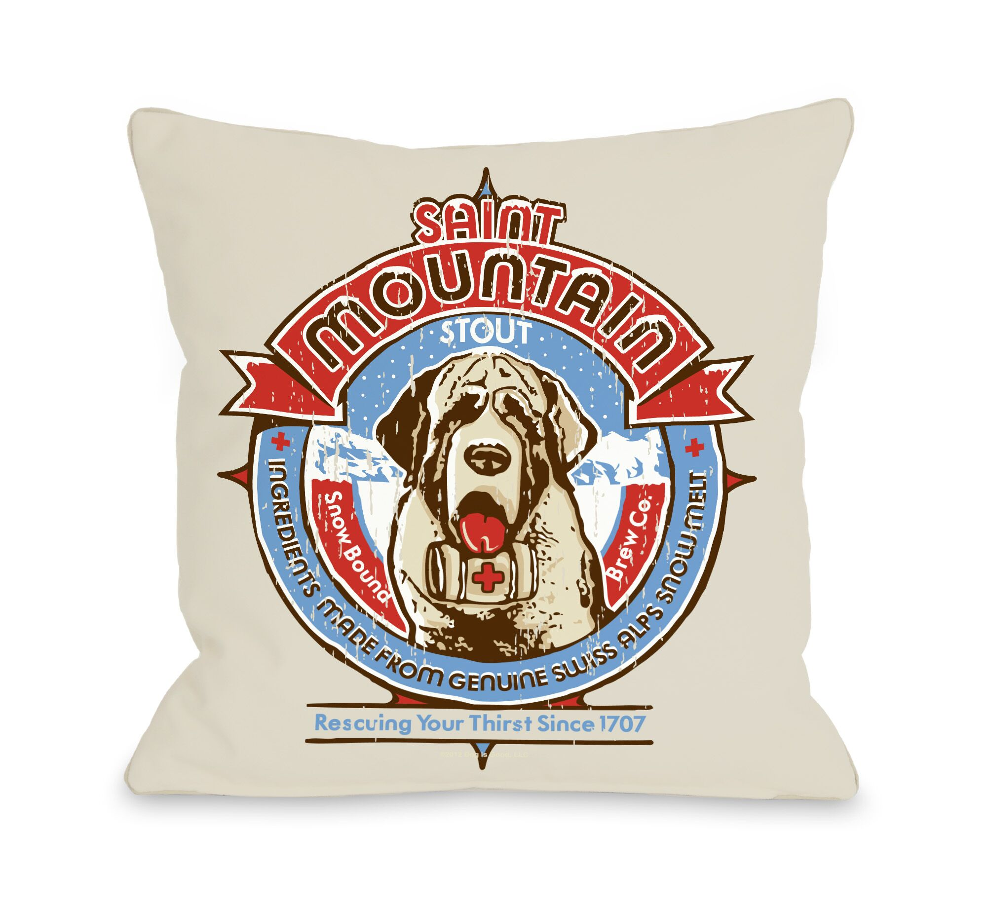 Doggy Décor Saint Mountain Throw Pillow Size: 16