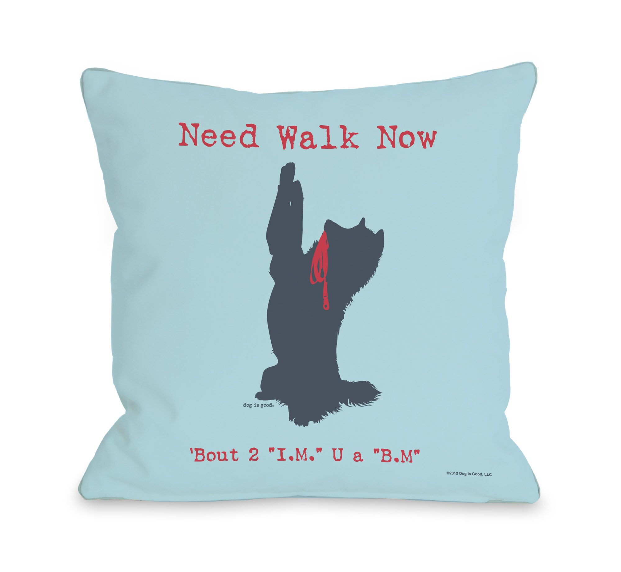 Doggy Décor Need Walk Now IM BM Throw Pillow Size: 18
