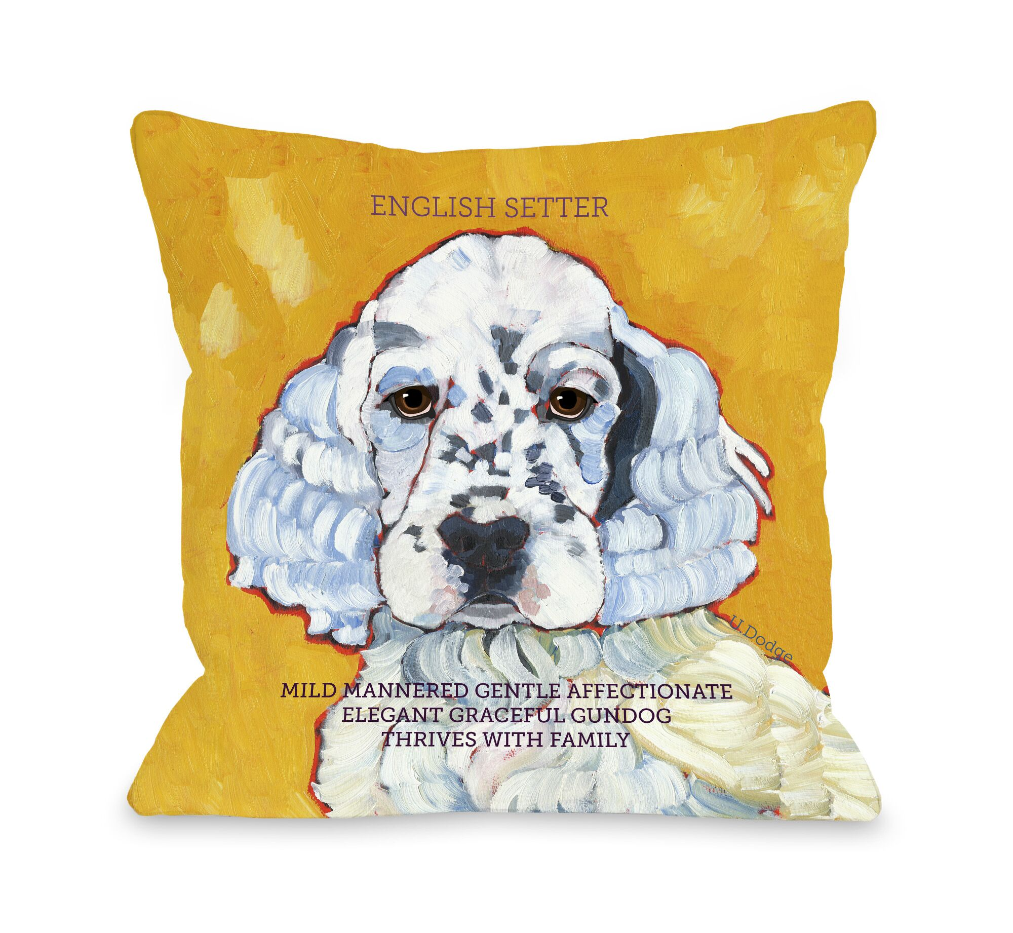 Doggy Décor English Setter Throw Pillow Size: 26