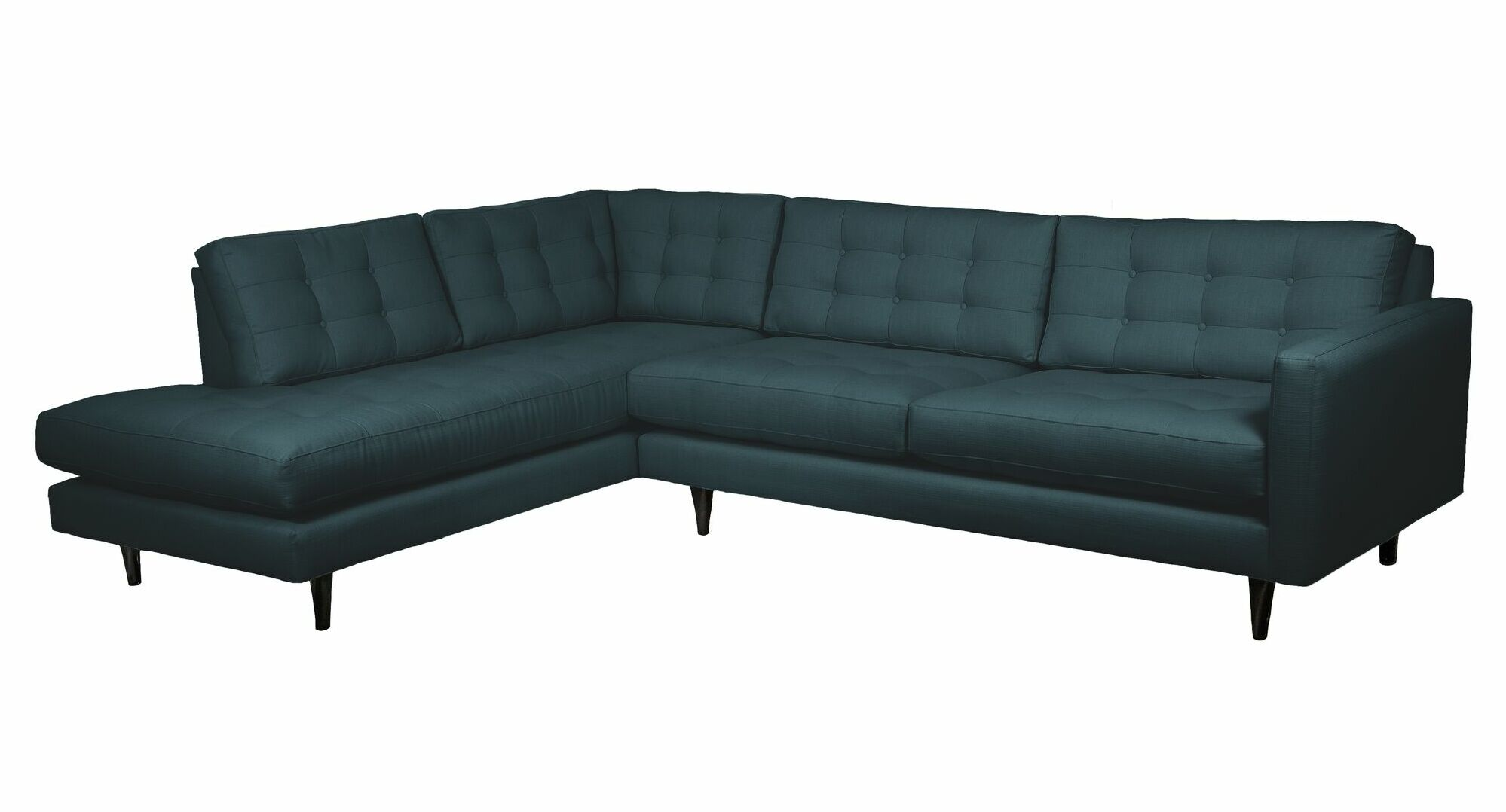 Mid-Century Sectional Body Fabric: Pool, Sectional Orientation: Right Hand Facing