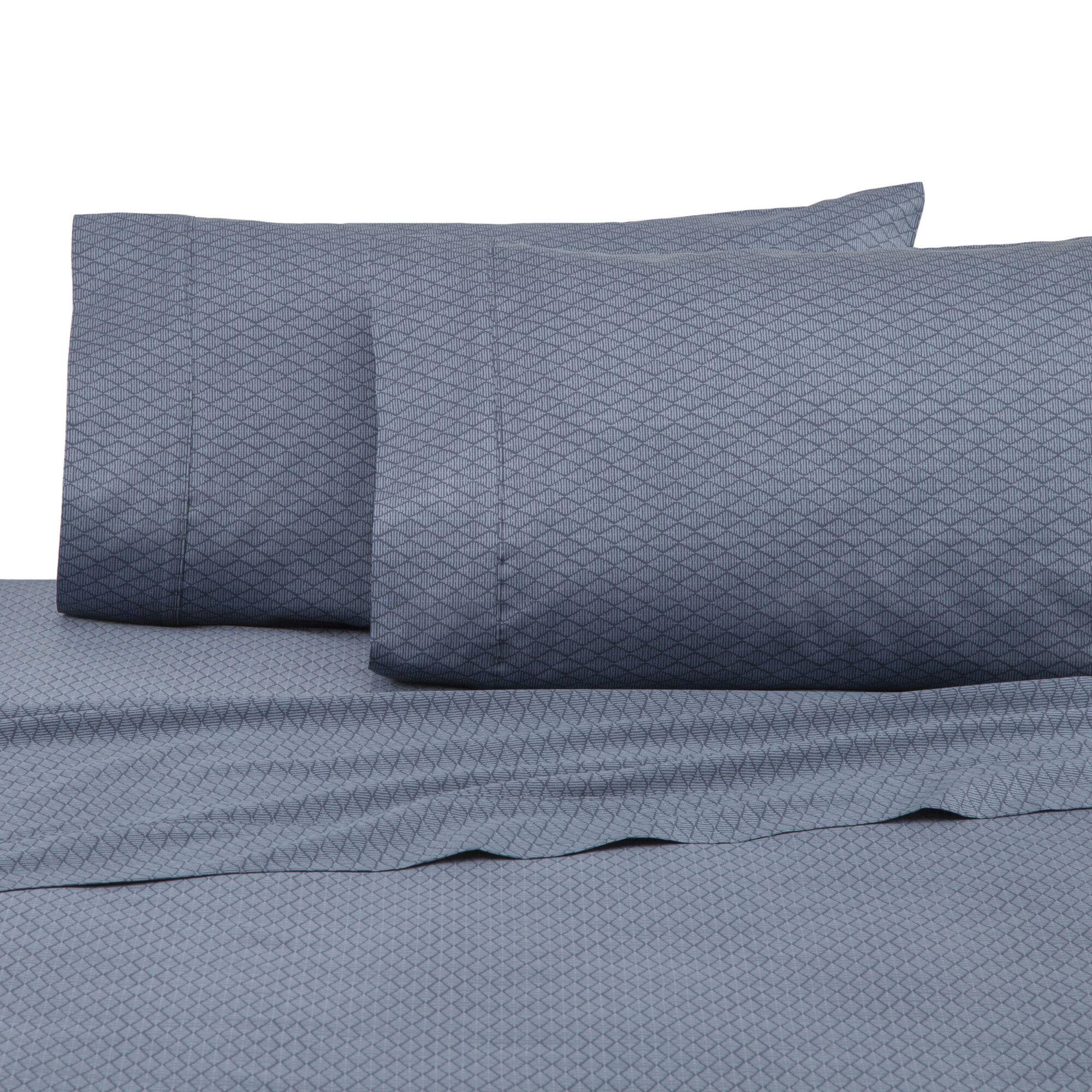400 Thread Count 100% Cotton Sheet Set Color: Navy Diamond Lines, Size: Queen