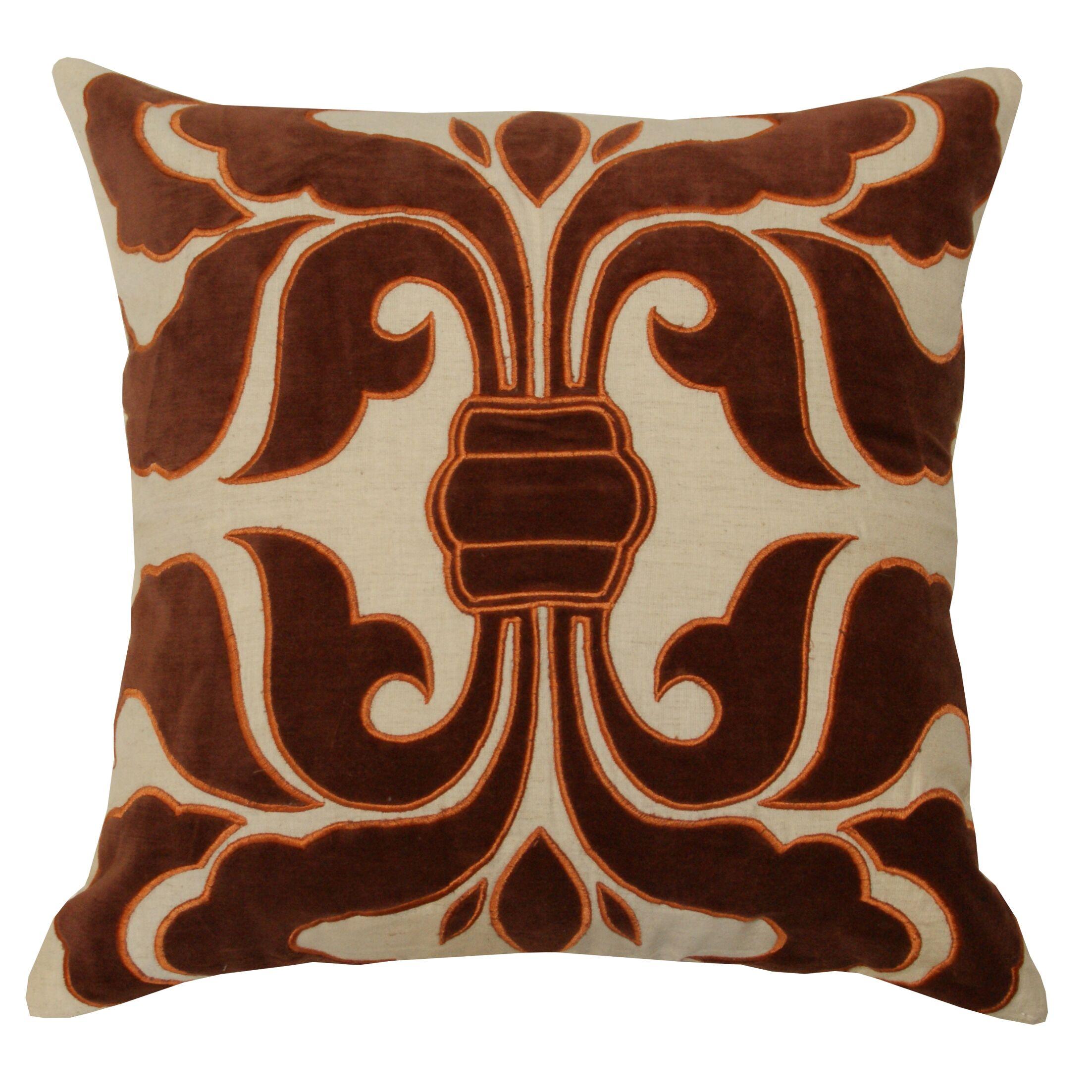 Applique Trellis Cotton Throw Pillow