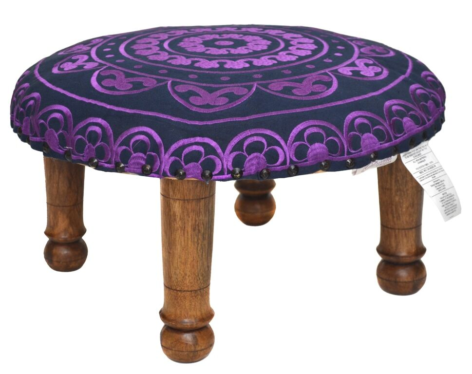 Embroidered Ottoman Upholstery: Purple