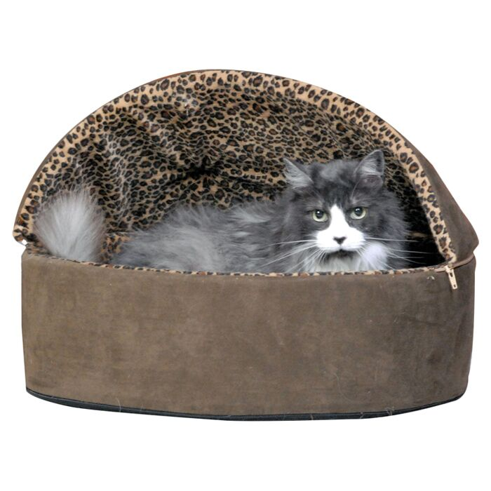 Leopard Deluxe Heated Hooded Cat Bed Size: Small (16