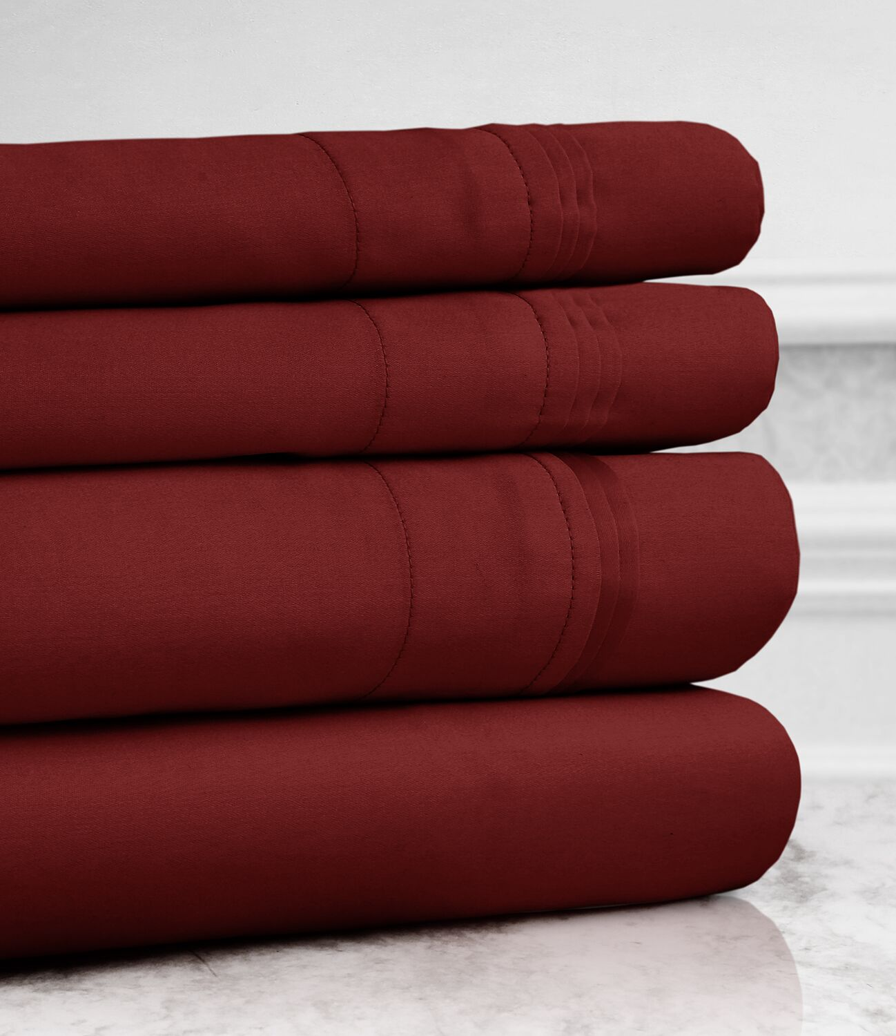 Valentino 4 Piece 1200 Thread Count Egyptian Quality Cotton Sheet Set Size: Full, Color: Wine