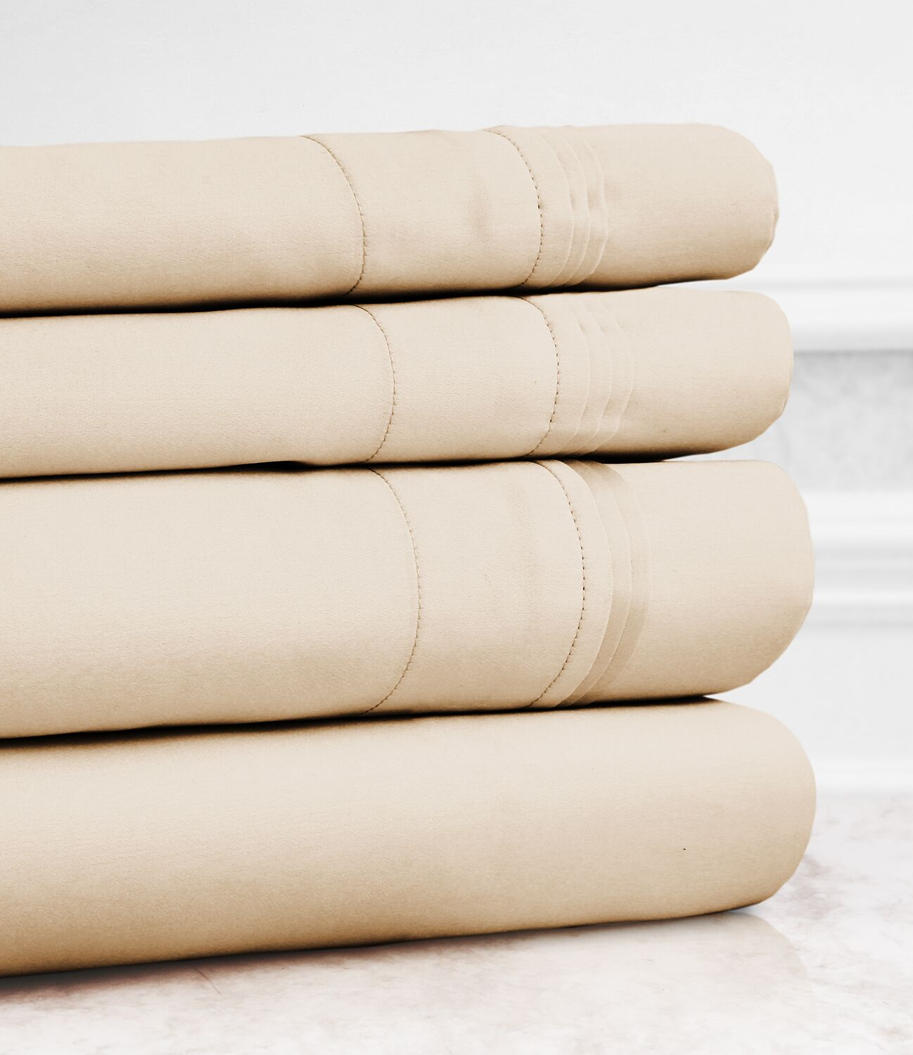 Valentino 4 Piece 1200 Thread Count Egyptian Quality Cotton Sheet Set Color: Beige, Size: Queen