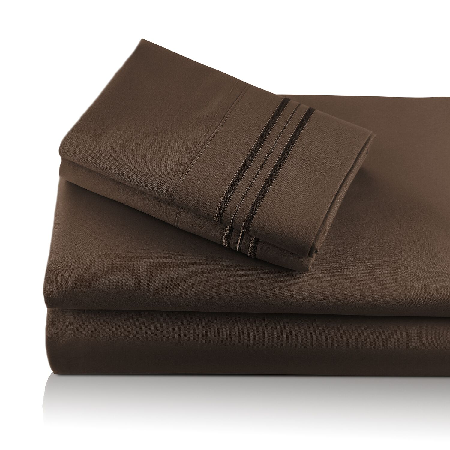Alger Embroidered Microfiber Luxe Sheet Set Color: Chocolate, Size: Queen