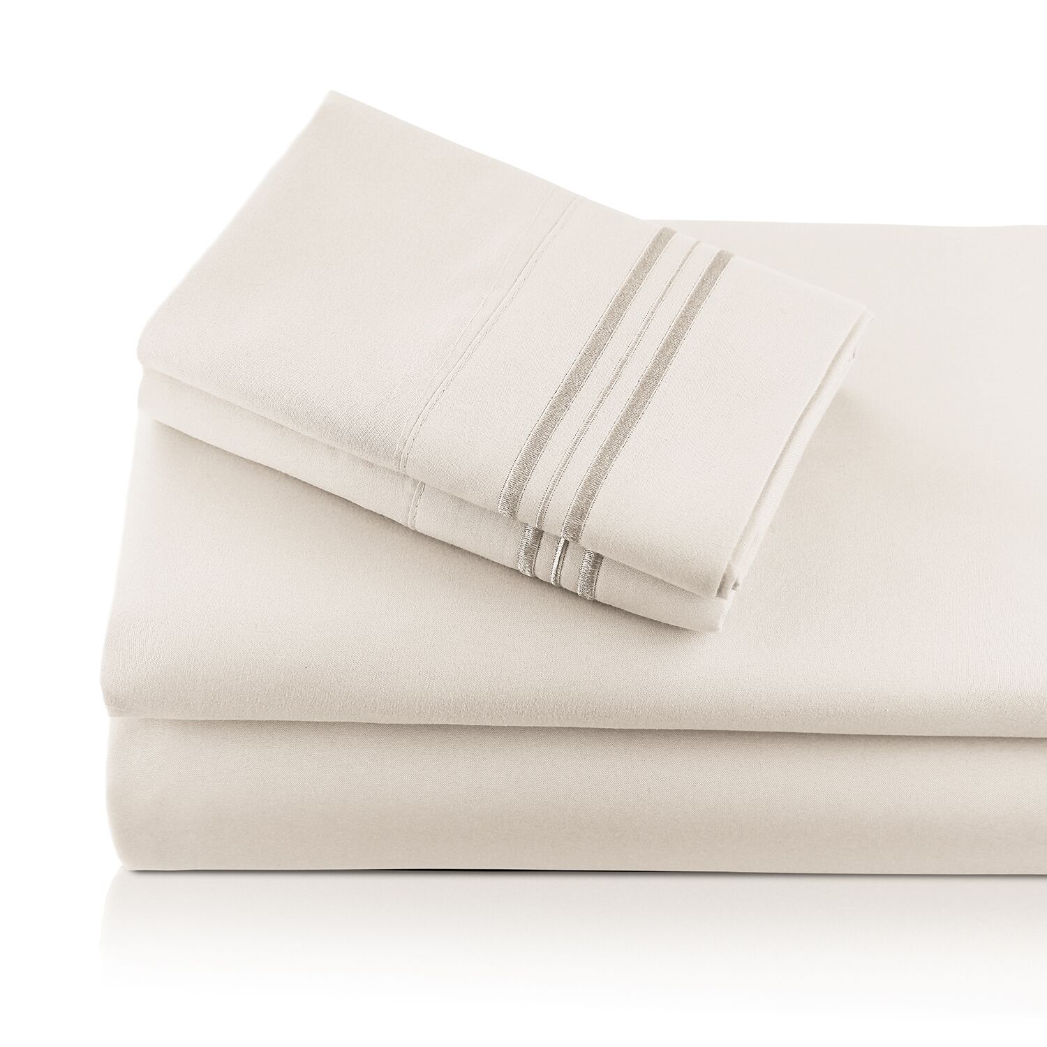 Alger Embroidered Microfiber Luxe Sheet Set Color: Ivory, Size: King